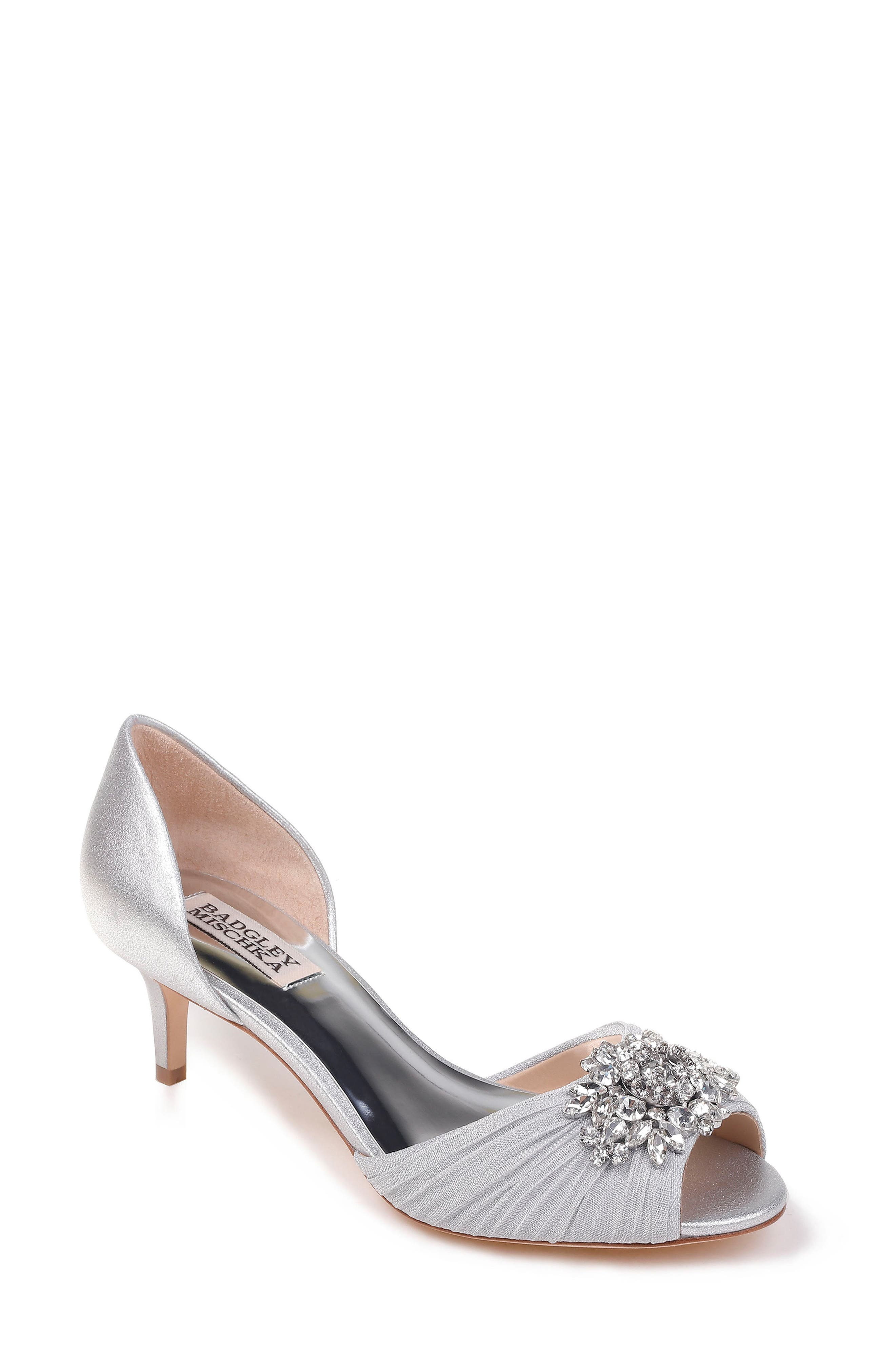 Sabine II Peep Toe Pump,                         Main,                         color, Silver Satin
