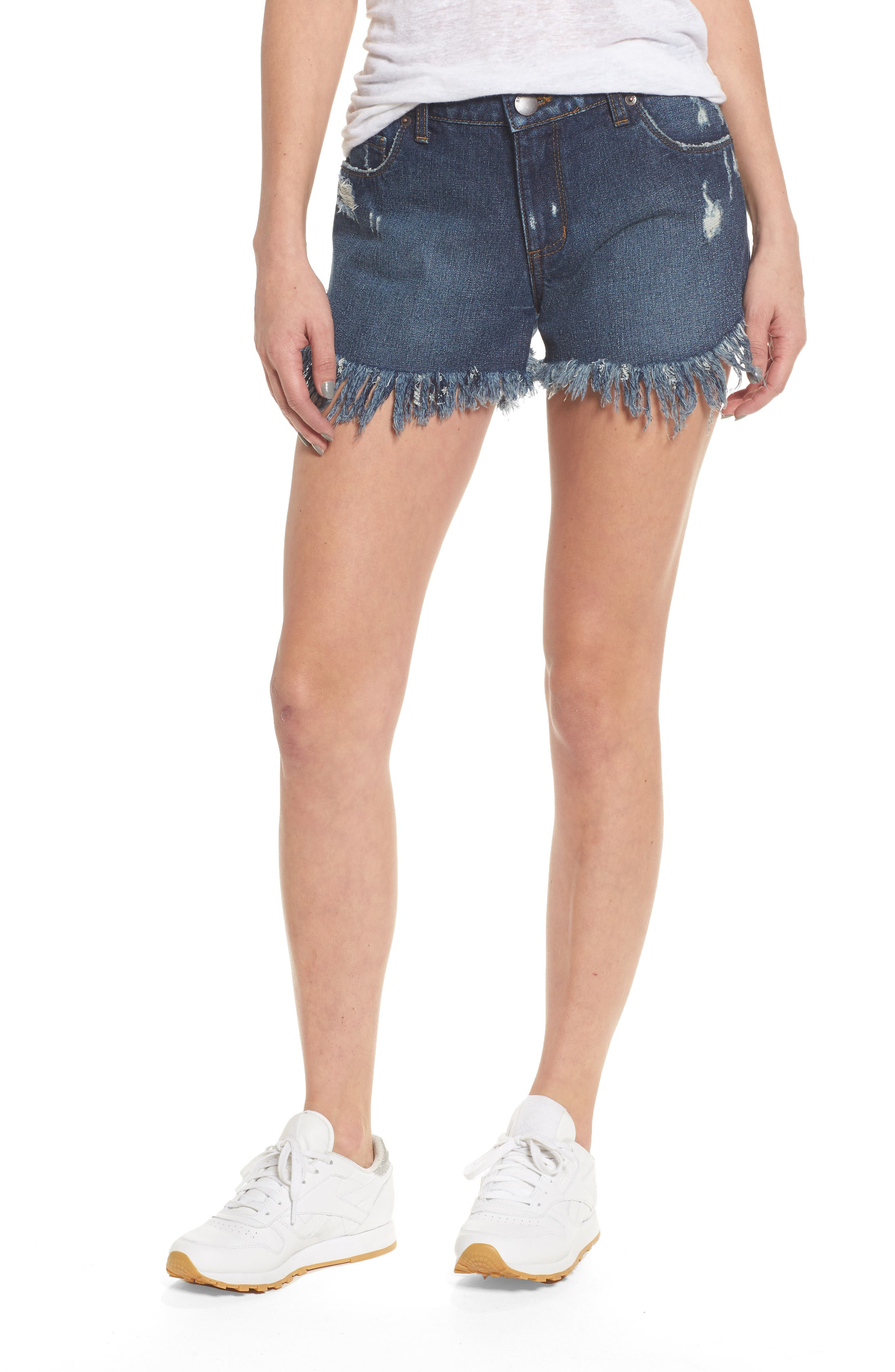 Extreme Fray Hem Jean Shorts,                             Main thumbnail 1, color,                             Mandeville