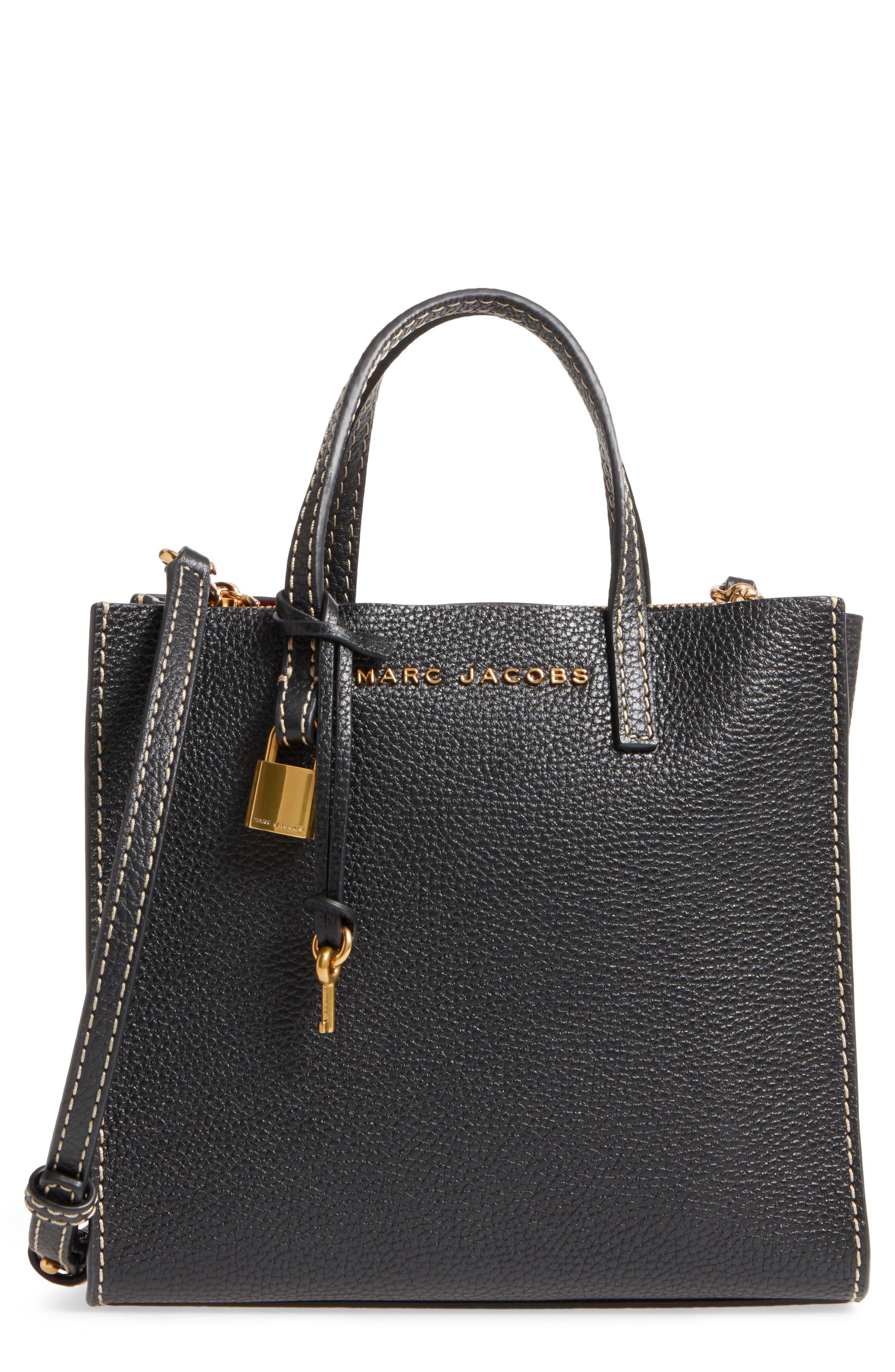The Grind Mini Colorblock Leather Tote,                             Main thumbnail 1, color,                             Black/ Gold