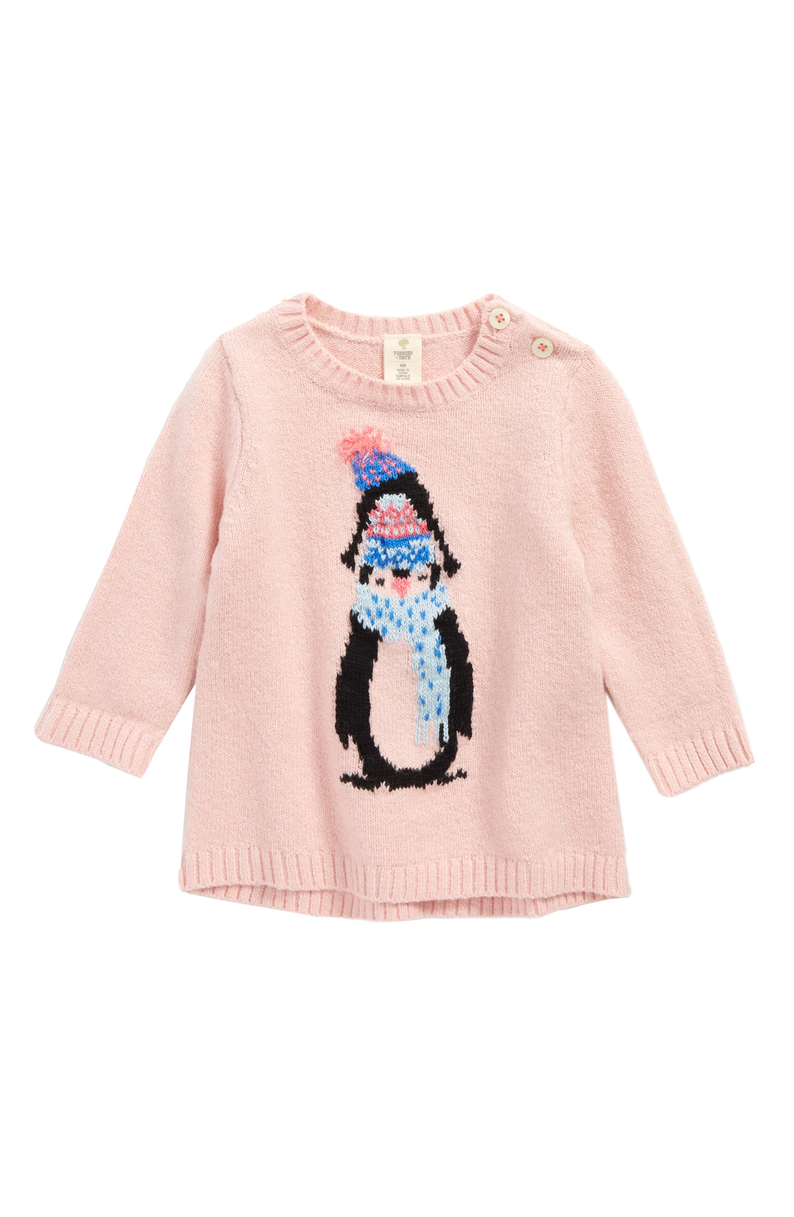 Penguin Sweater,                             Main thumbnail 1, color,                             Pink Silver Penguin