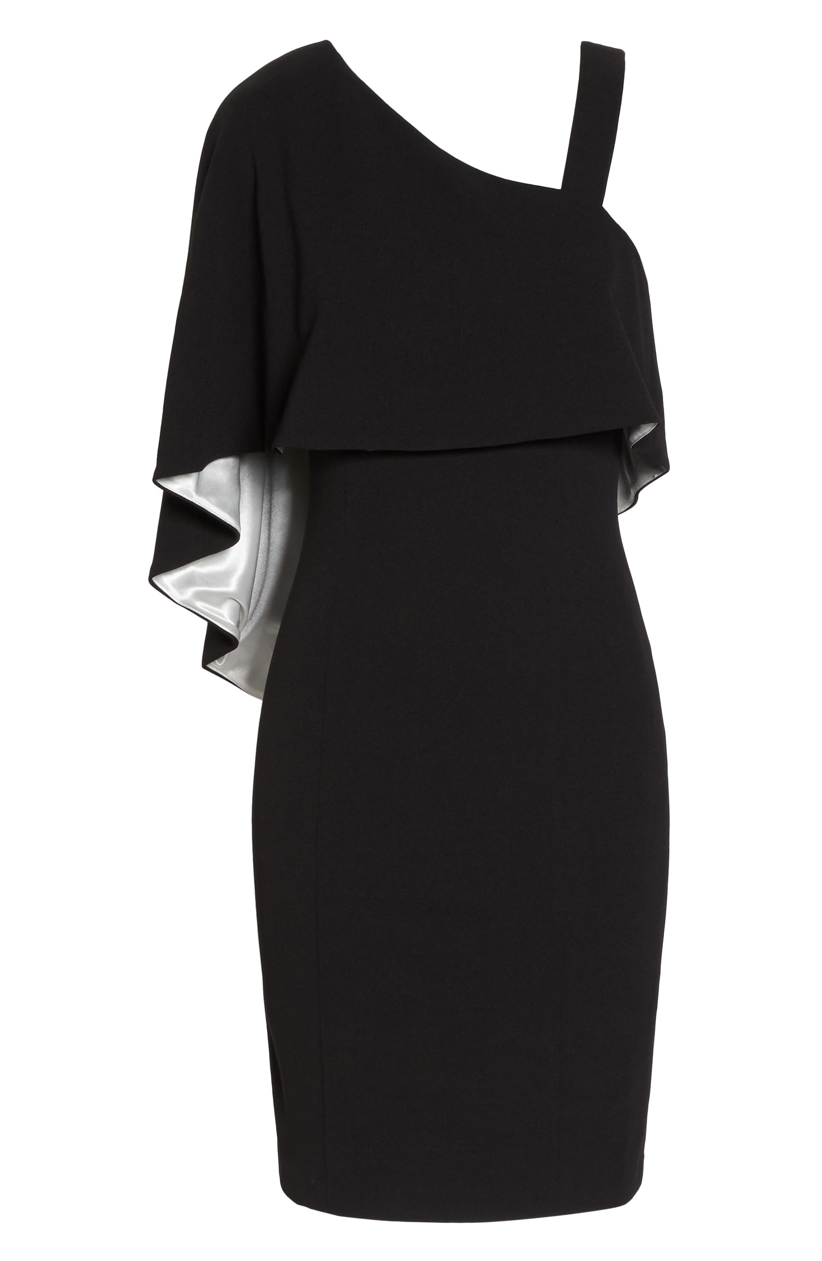 Crepe One-Shoulder Cape Dress,                             Alternate thumbnail 6, color,                             Black/ Ivory