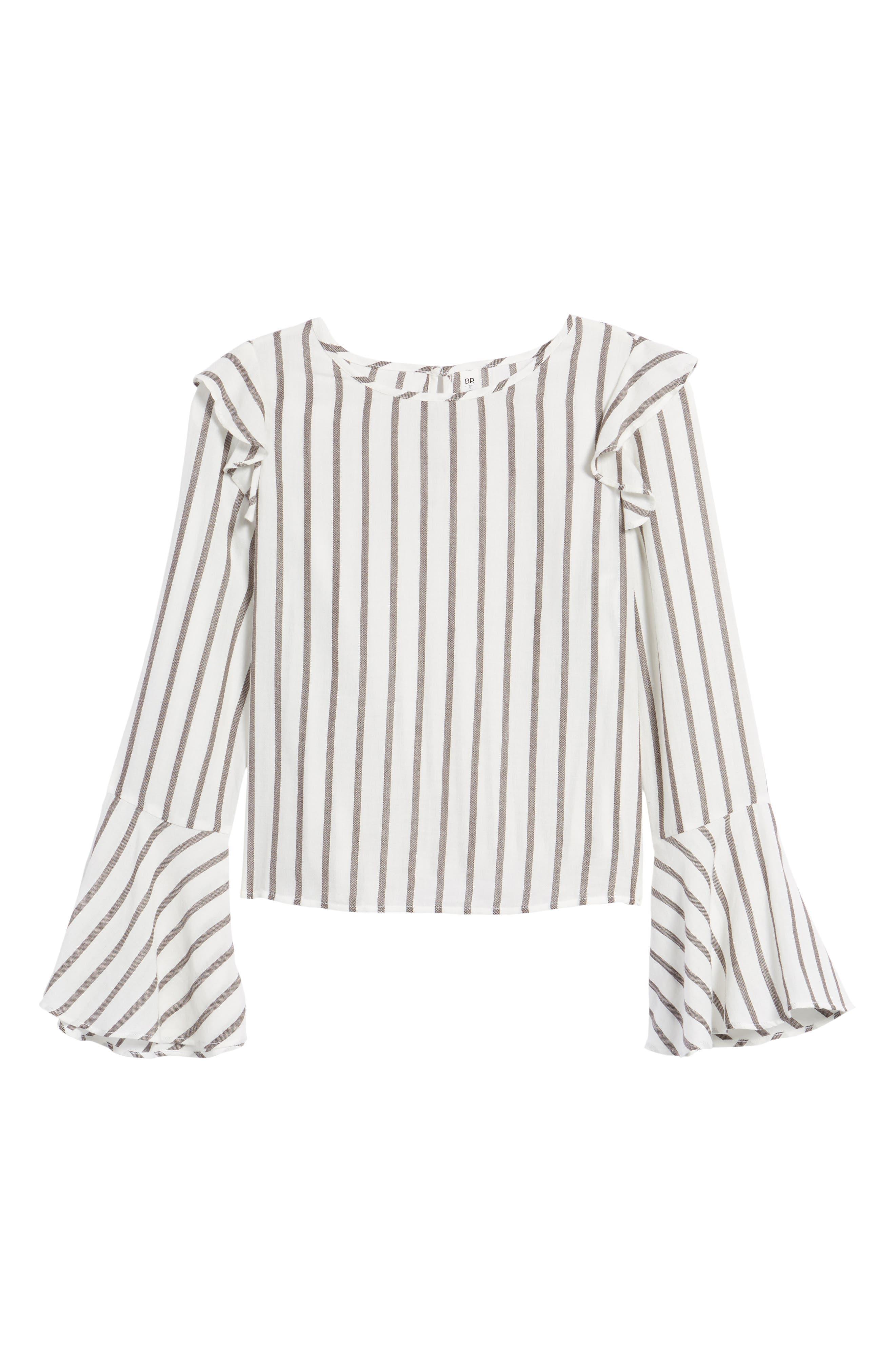 Ruffle Shoulder Flare Cuff Shirt,                             Alternate thumbnail 6, color,                             Ivory Egret Emmy Stripe