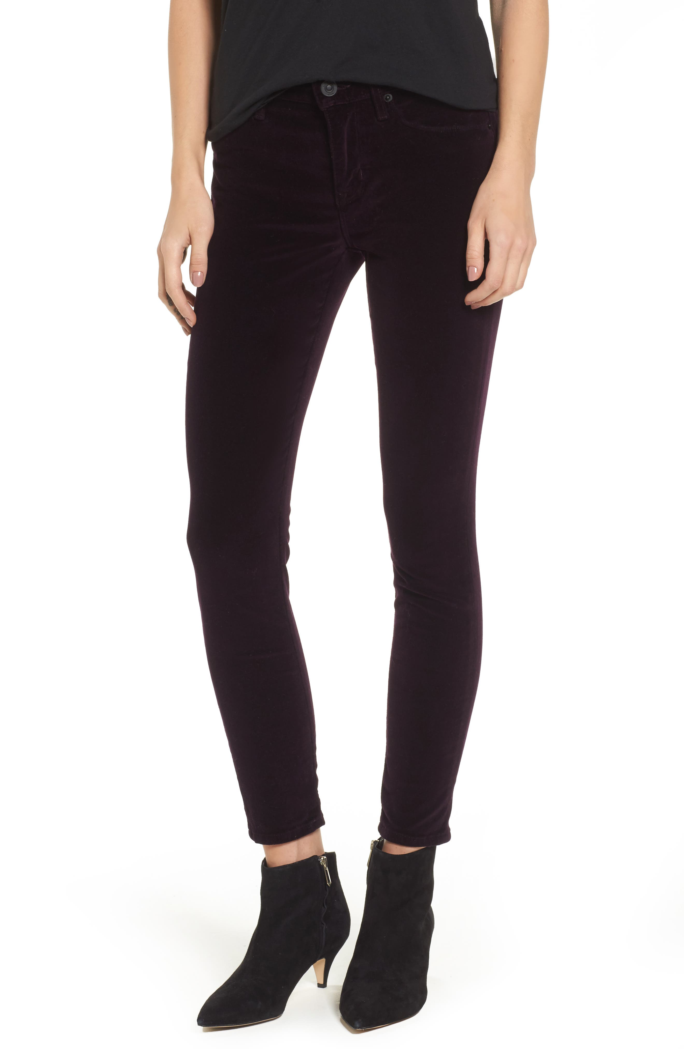 Nico Ankle Skinny Velvet Pants,                         Main,                         color, Violet Trance