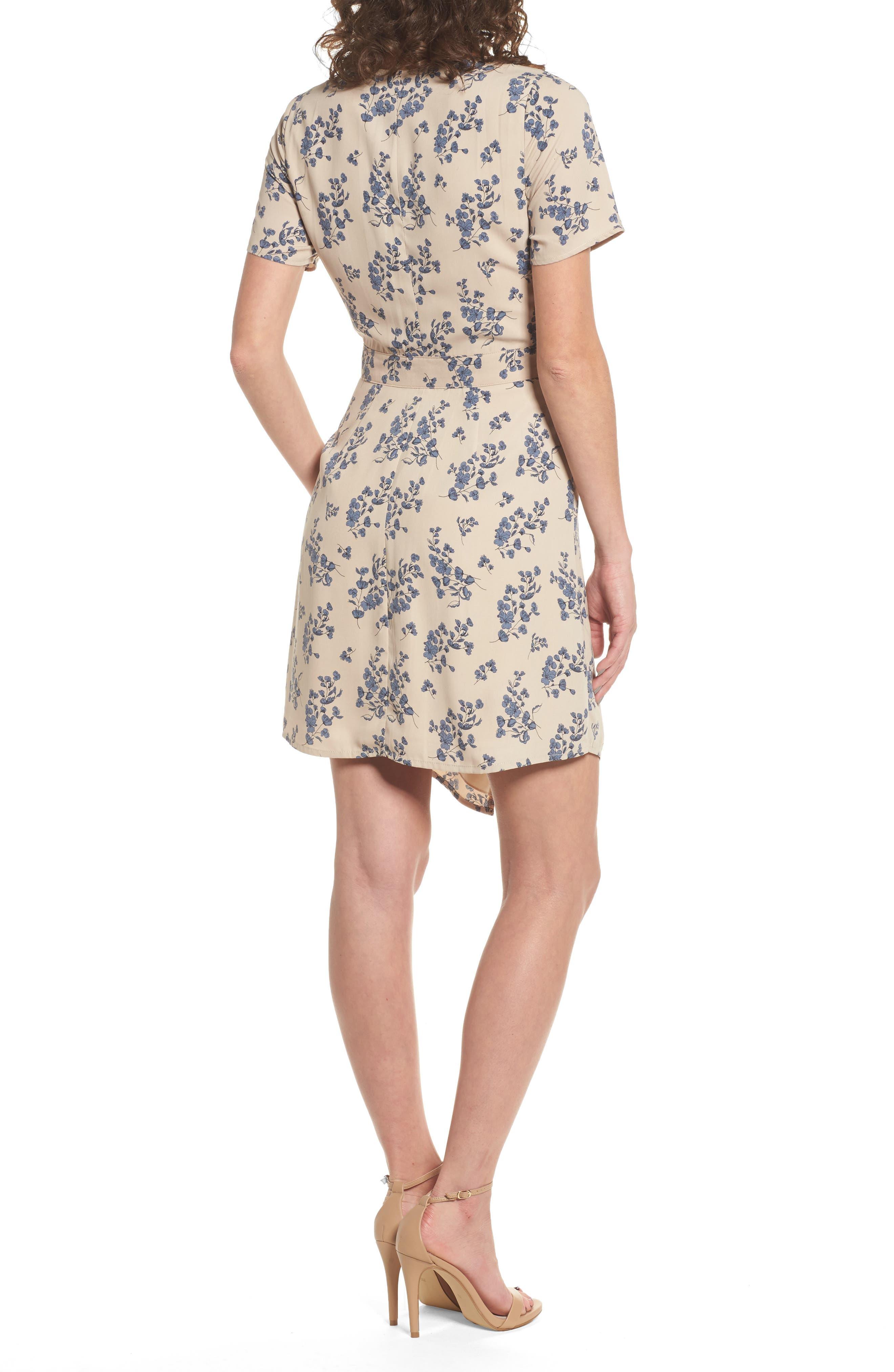Floral Print Wrap Dress,                             Alternate thumbnail 2, color,                             Taupe Floral