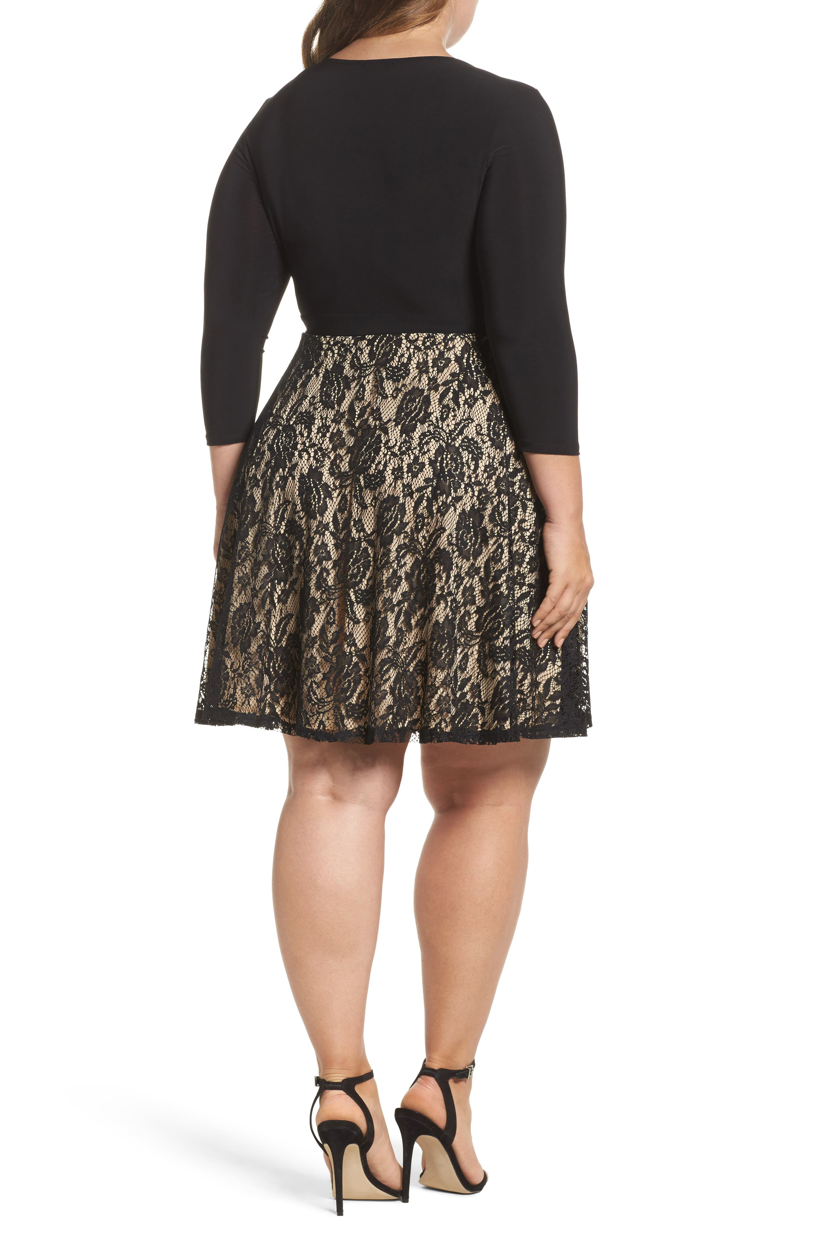 Lace Skirt Skater Dress,                             Alternate thumbnail 2, color,                             Black