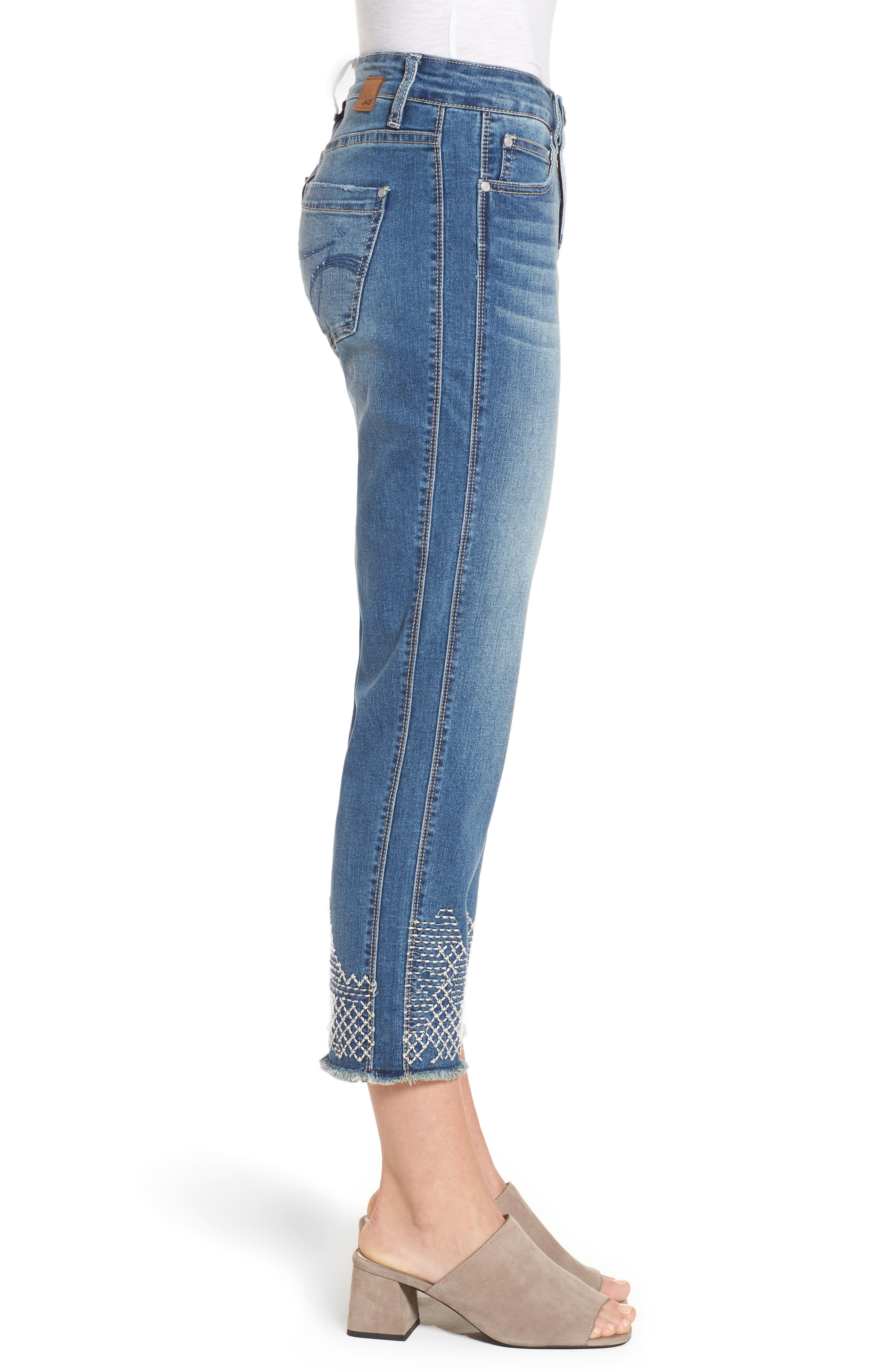 Long Straight Ankle Jeans,                             Alternate thumbnail 3, color,                             Horizon Blue