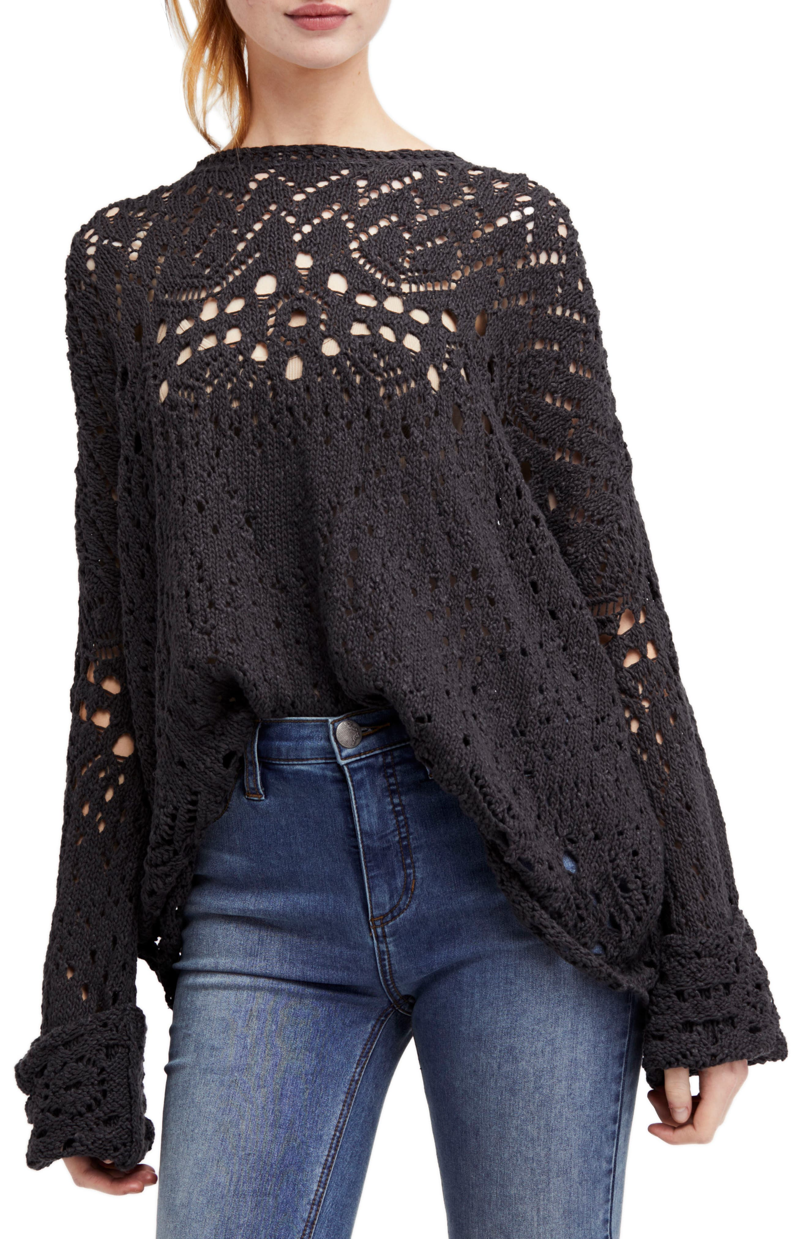 Traveling Lace Sweater,                             Main thumbnail 1, color,                             Carbon