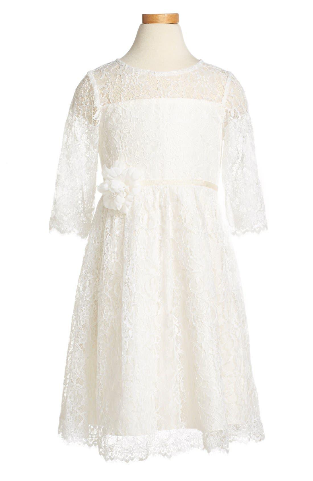 Annie Floral Appliqué Lace Dress,                             Alternate thumbnail 3, color,                             Ivory