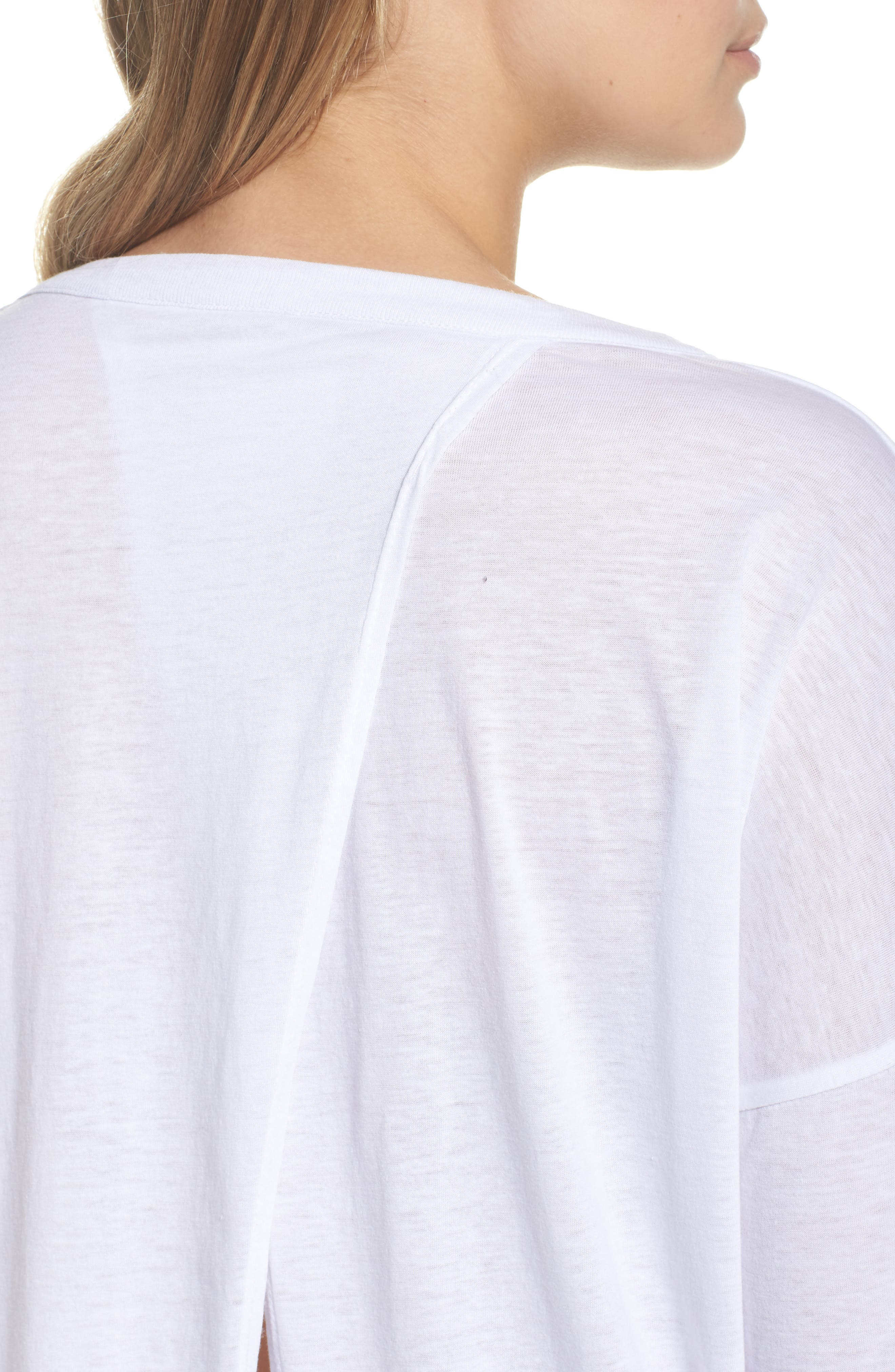 Vintage Jersey Split Back Tee,                             Alternate thumbnail 5, color,                             White
