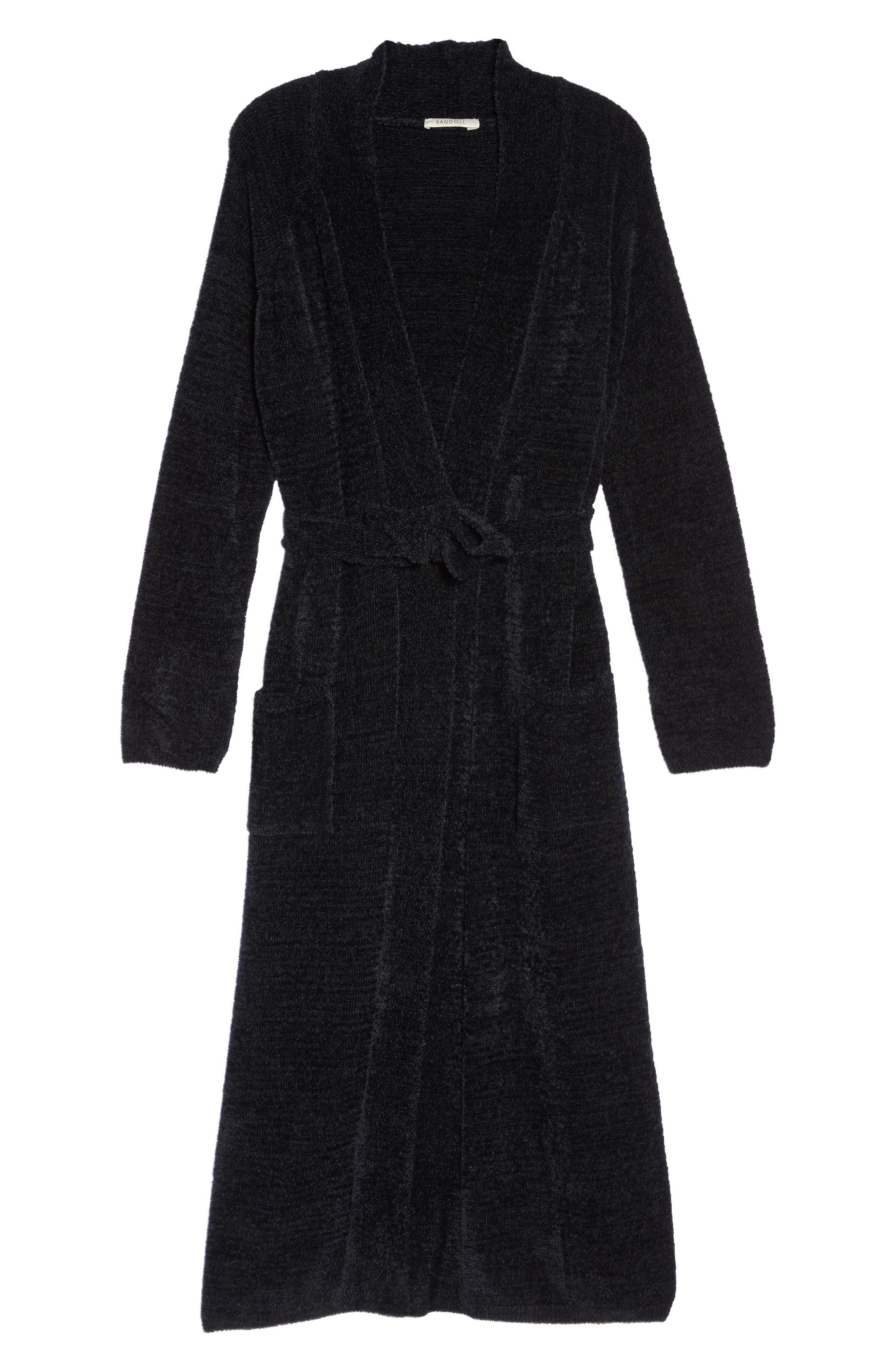 Chenille Robe,                             Alternate thumbnail 6, color,                             Black