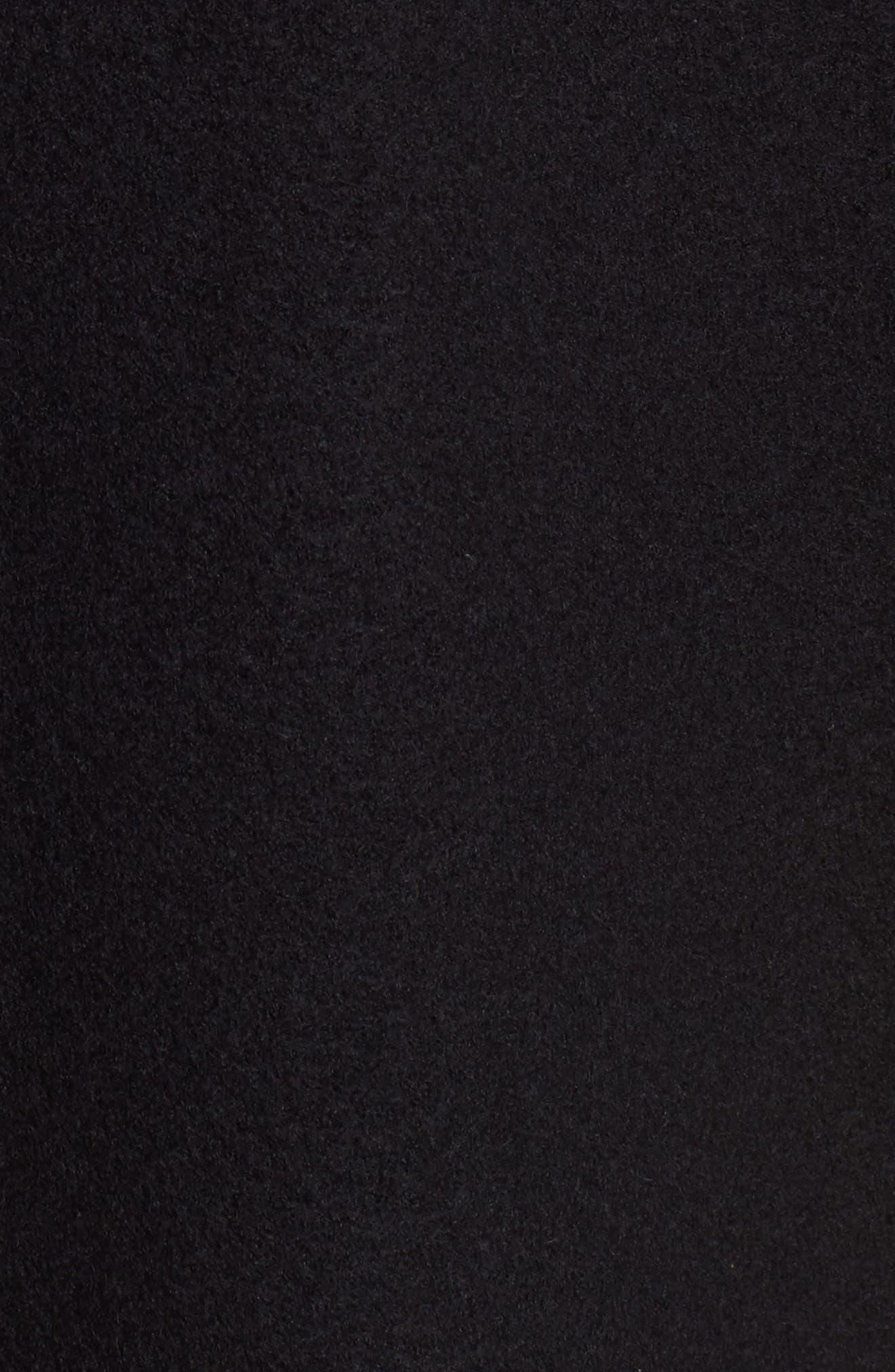 Boiled Wool Bomber Coat,                             Alternate thumbnail 5, color,                             Black