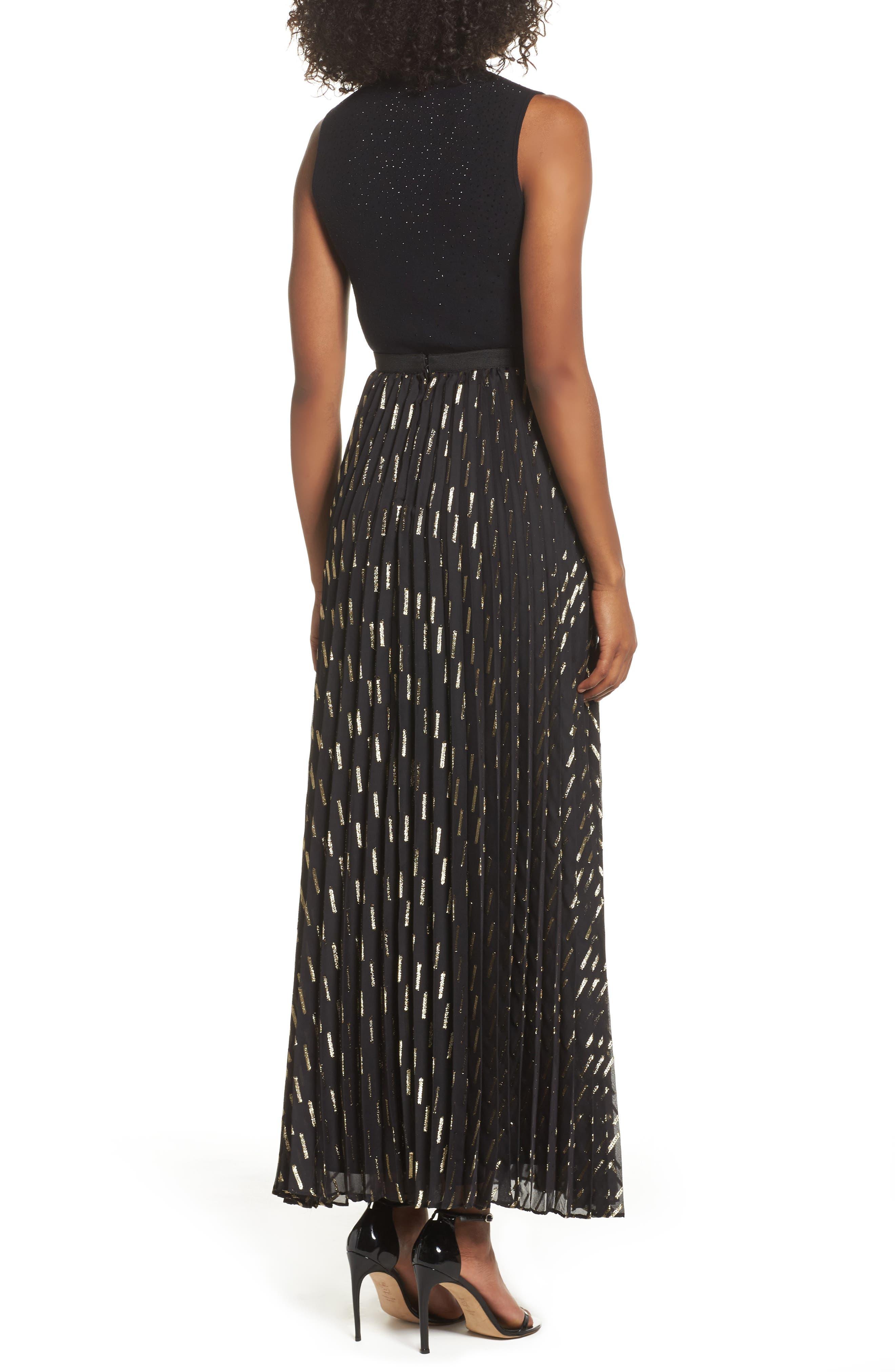 Metallic Detail Pleated Chiffon Maxi Skirt,                             Alternate thumbnail 3, color,                             Black Gold