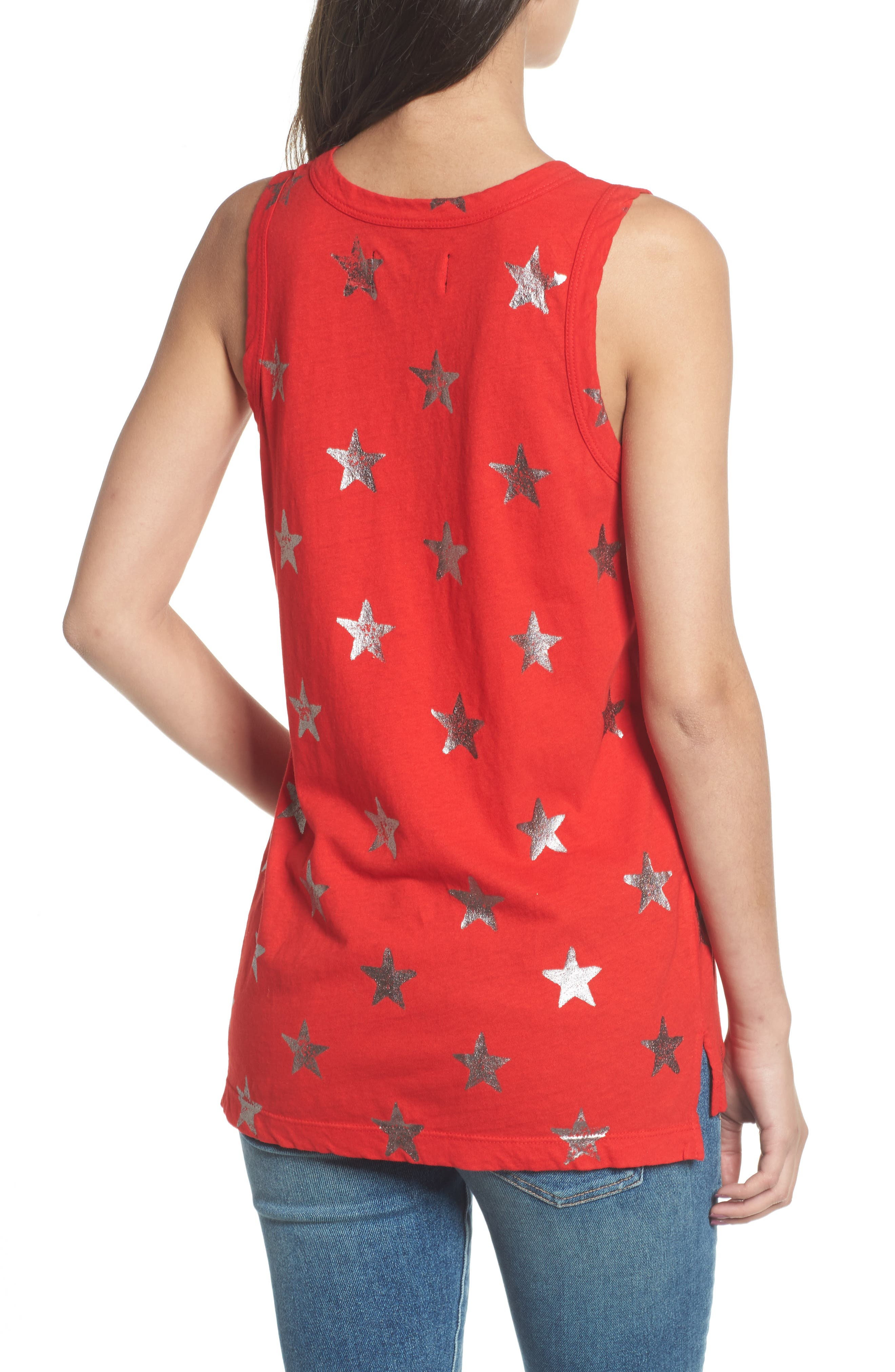 The Muscle Tee,                             Alternate thumbnail 2, color,                             Red Foil Star