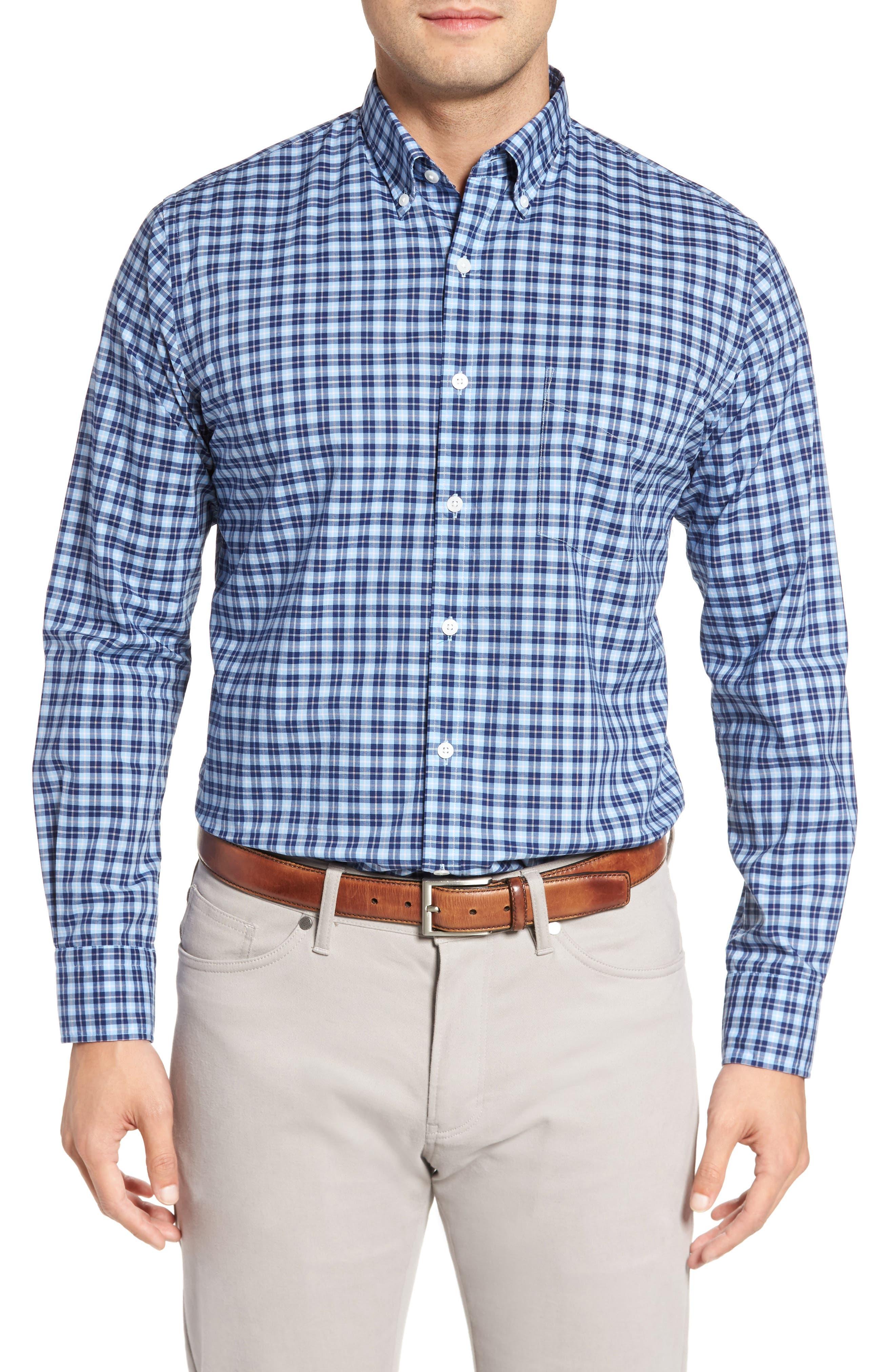 Crown Vintage Regular Fit Mini Plaid Sport Shirt,                         Main,                         color, Tahoe Blue