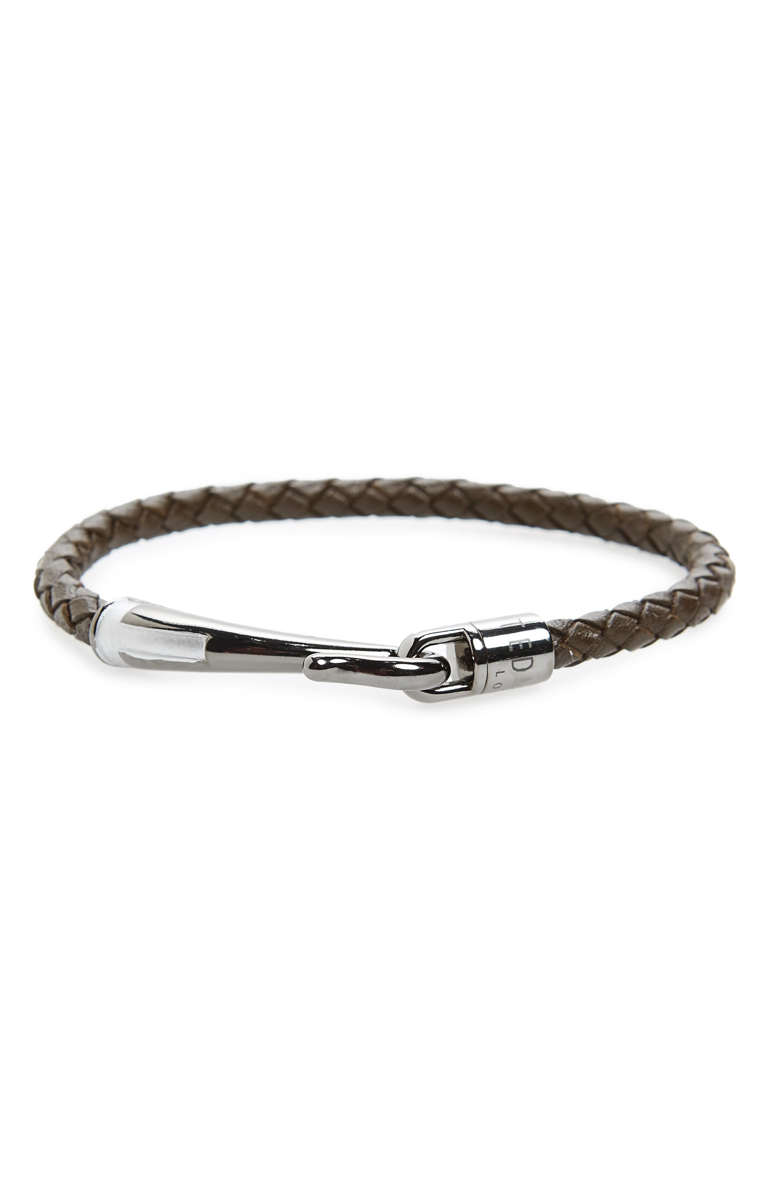 Chewer Braided Leather Bracelet,                         Main,                         color, Chocolate