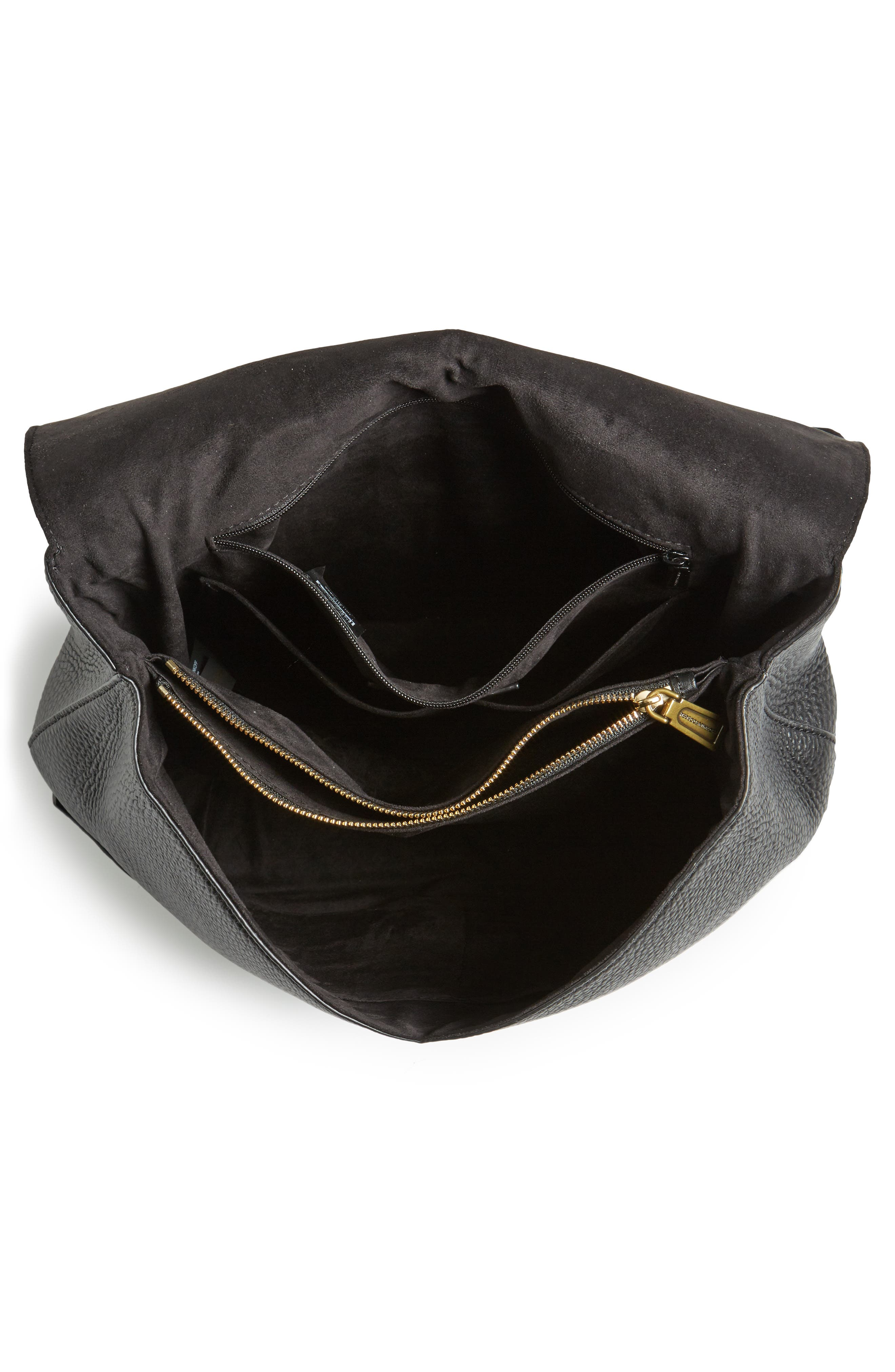 Darren Convertible Leather Backpack,                             Alternate thumbnail 5, color,                             Black