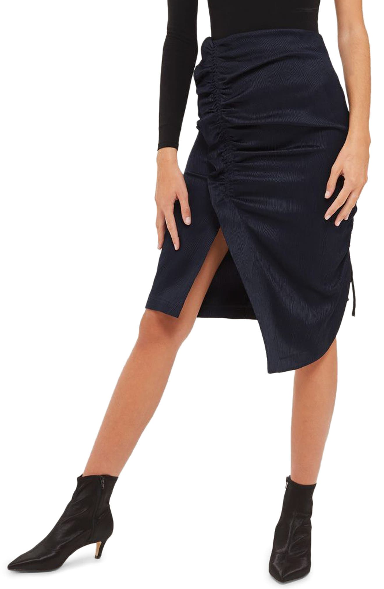 Ruched Skirt,                         Main,                         color, Navy Blue