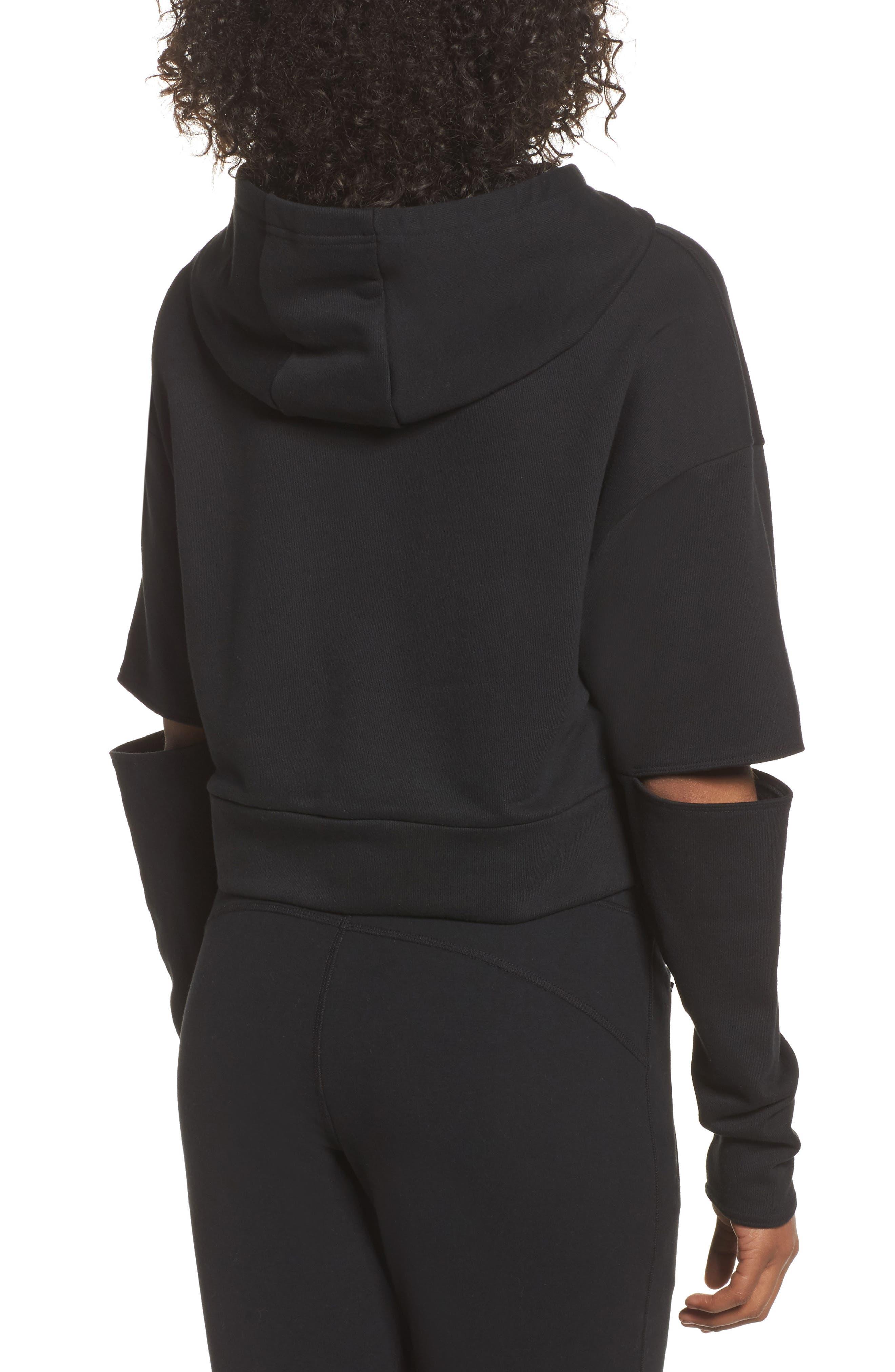 Peak Cutout Long Sleeve Pullover Crop Hoodie,                             Alternate thumbnail 2, color,                             Black