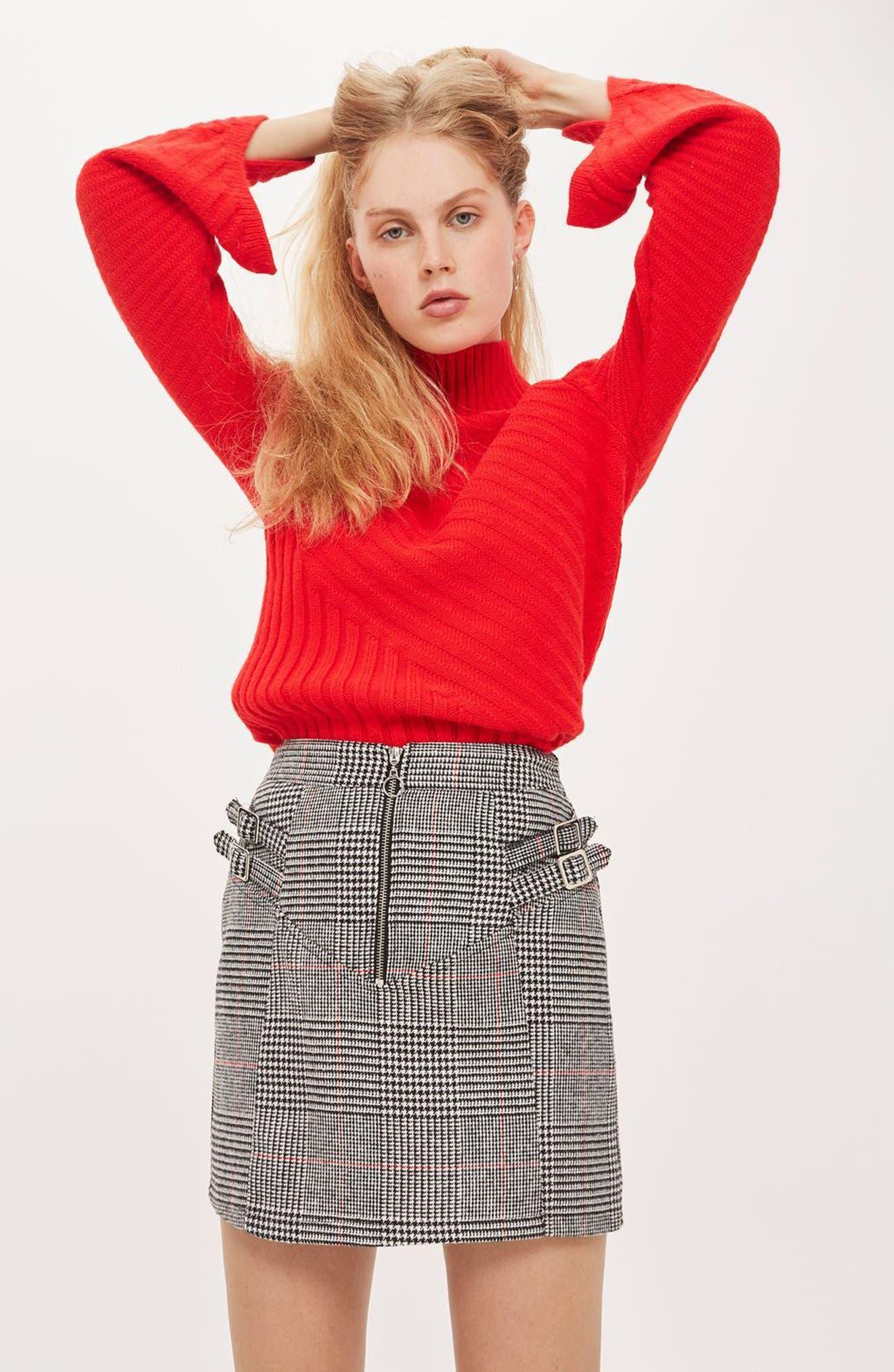 Side Buckle Check Miniskirt,                             Alternate thumbnail 4, color,                             Black Multi
