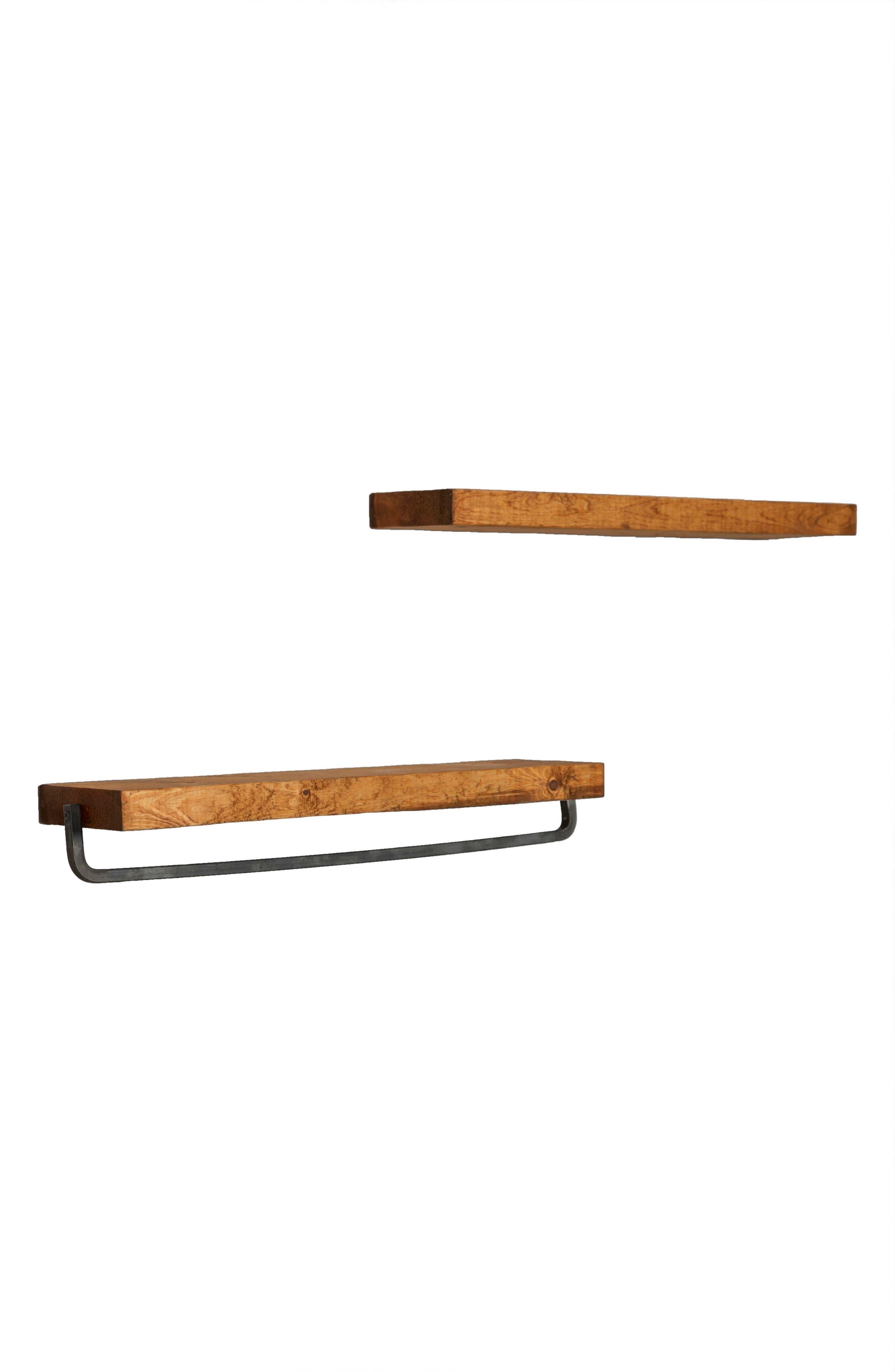 Set of 2 Floating Shelves with Towel Rack,                         Main,                         color, Walnut