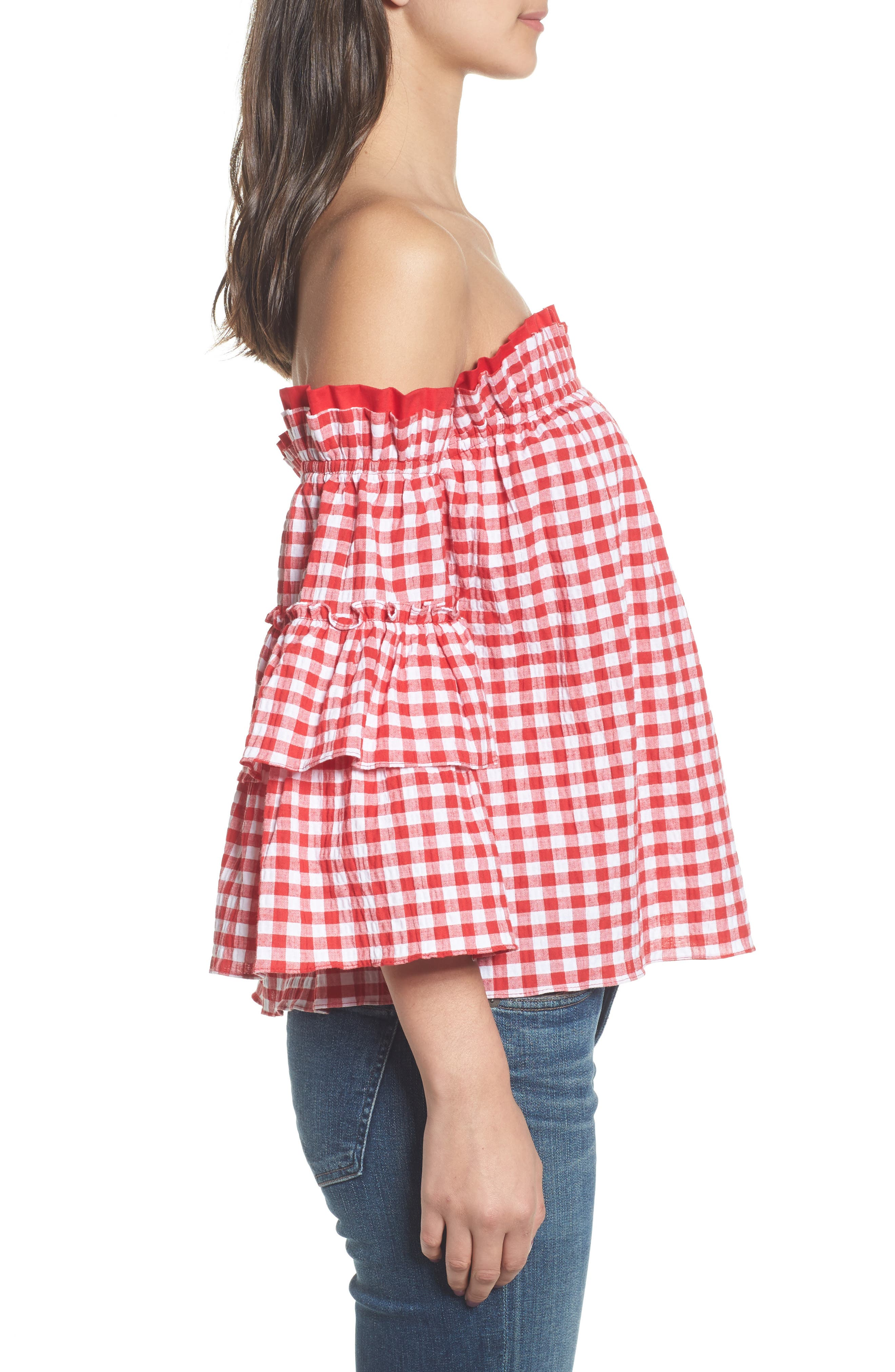 Sabina Off the Shoulder Top,                             Alternate thumbnail 3, color,                             Red/ White Multi