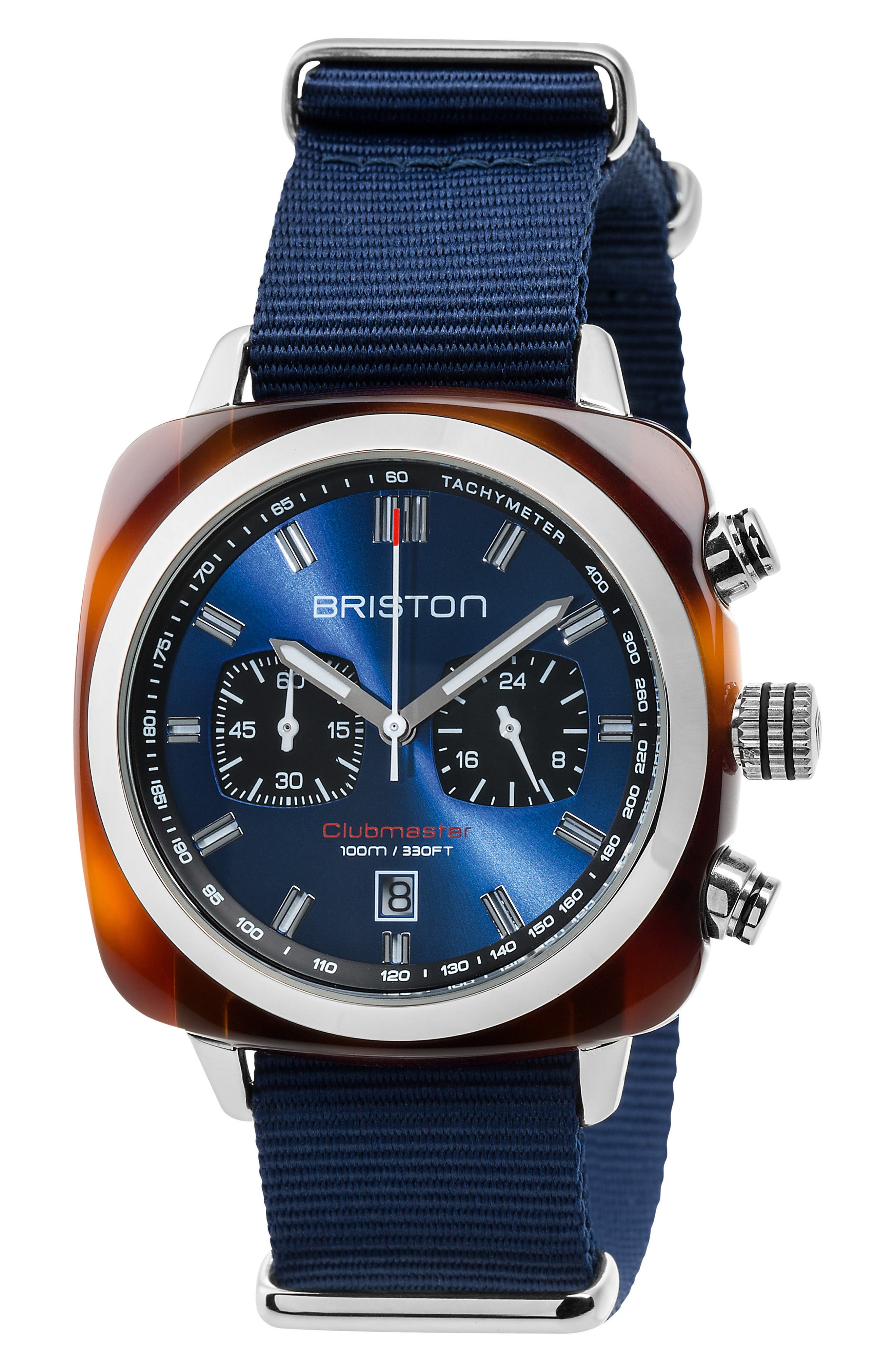Clubmaster Sport Chronograph Nylon Strap Watch, 42mm,                         Main,                         color, Blue/ Tort Acetate