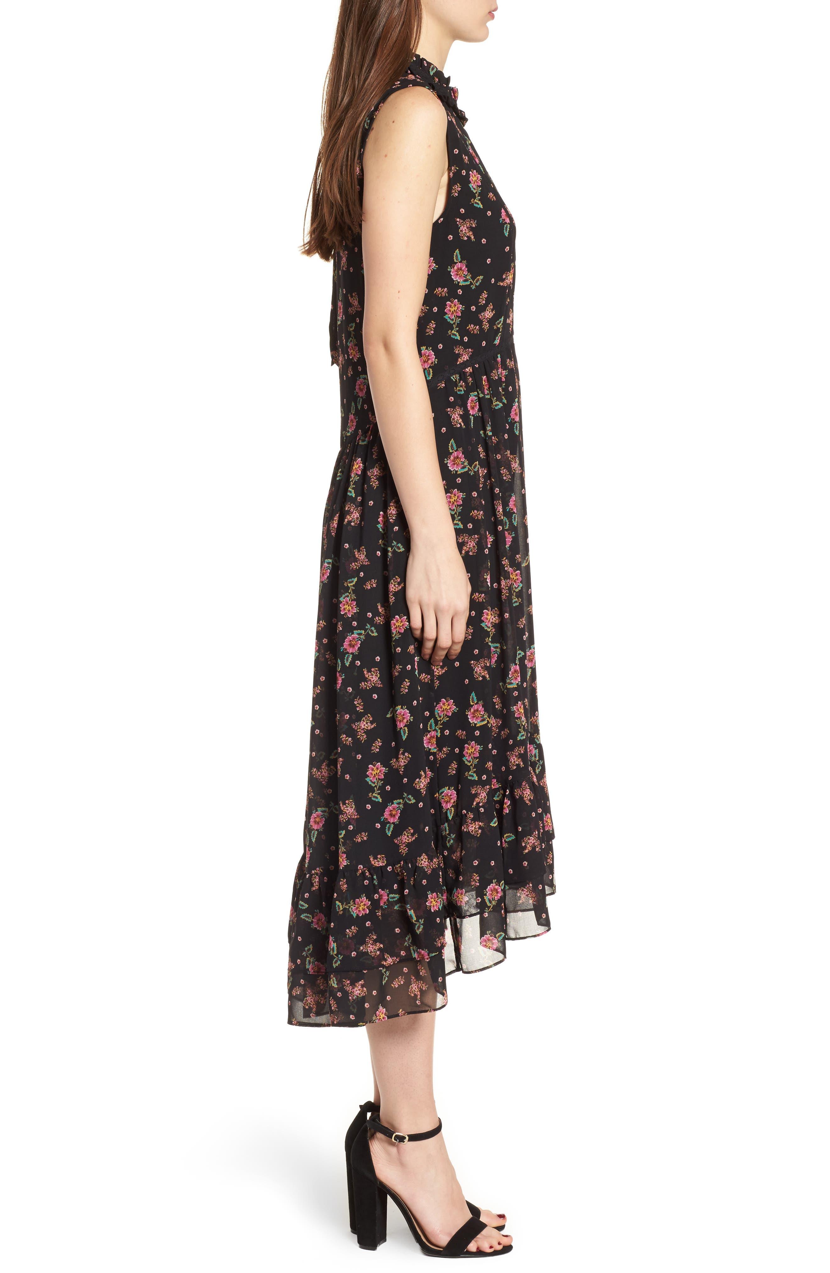 Harvey Midi Dress,                             Alternate thumbnail 3, color,                             Black Multi