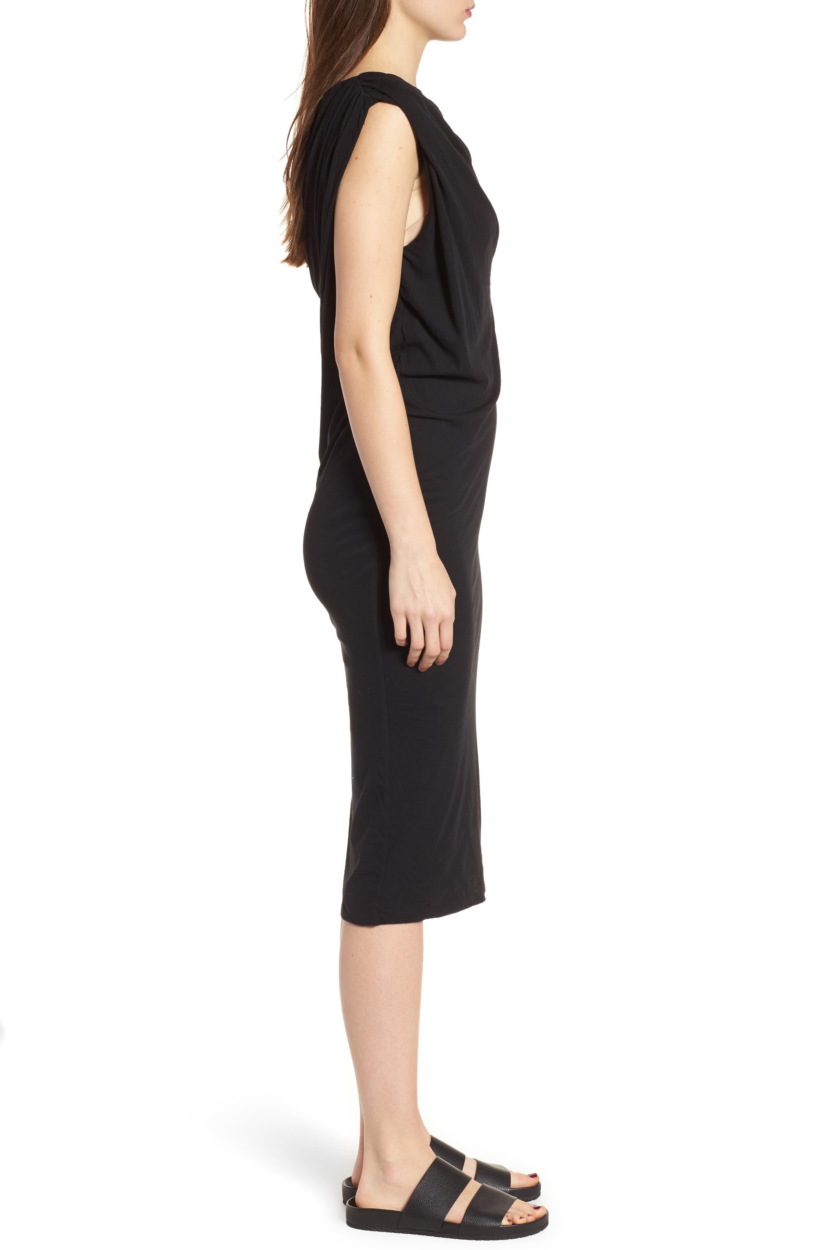 Draped One-Shoulder Midi Dress,                             Alternate thumbnail 3, color,                             Black