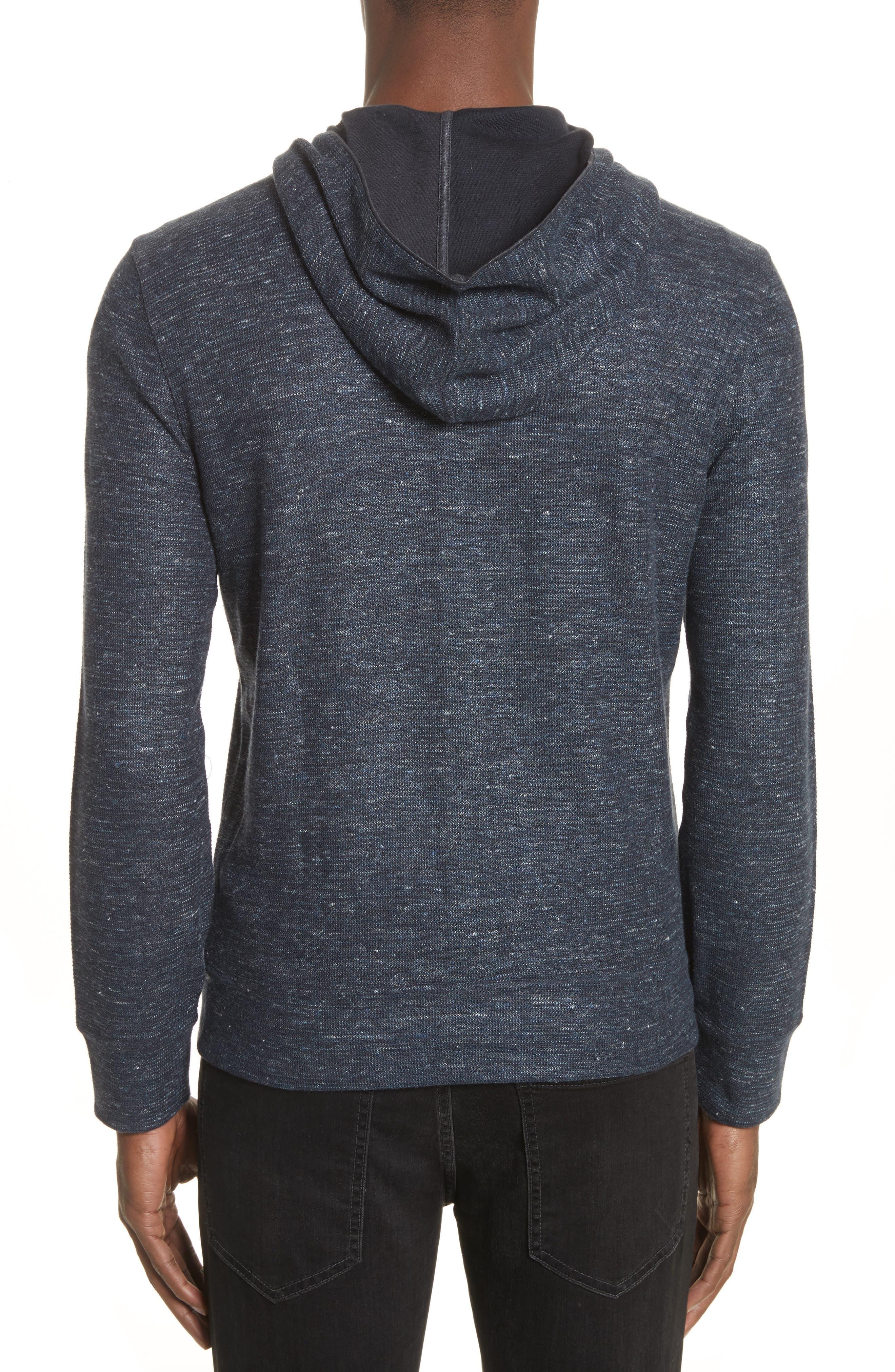Cotton & Linen Zip Hoodie,                             Alternate thumbnail 2, color,                             Navy