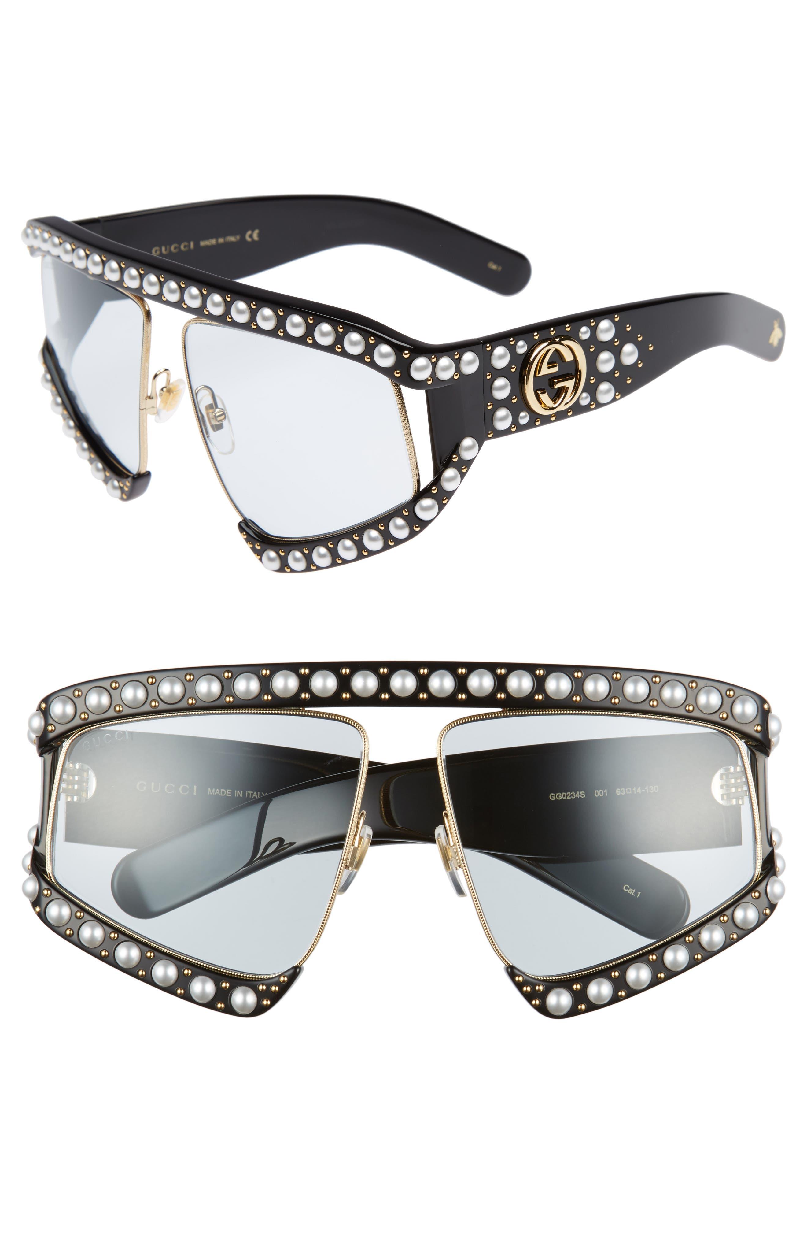 Gucci 63mm Embellished Shield Sunglasses