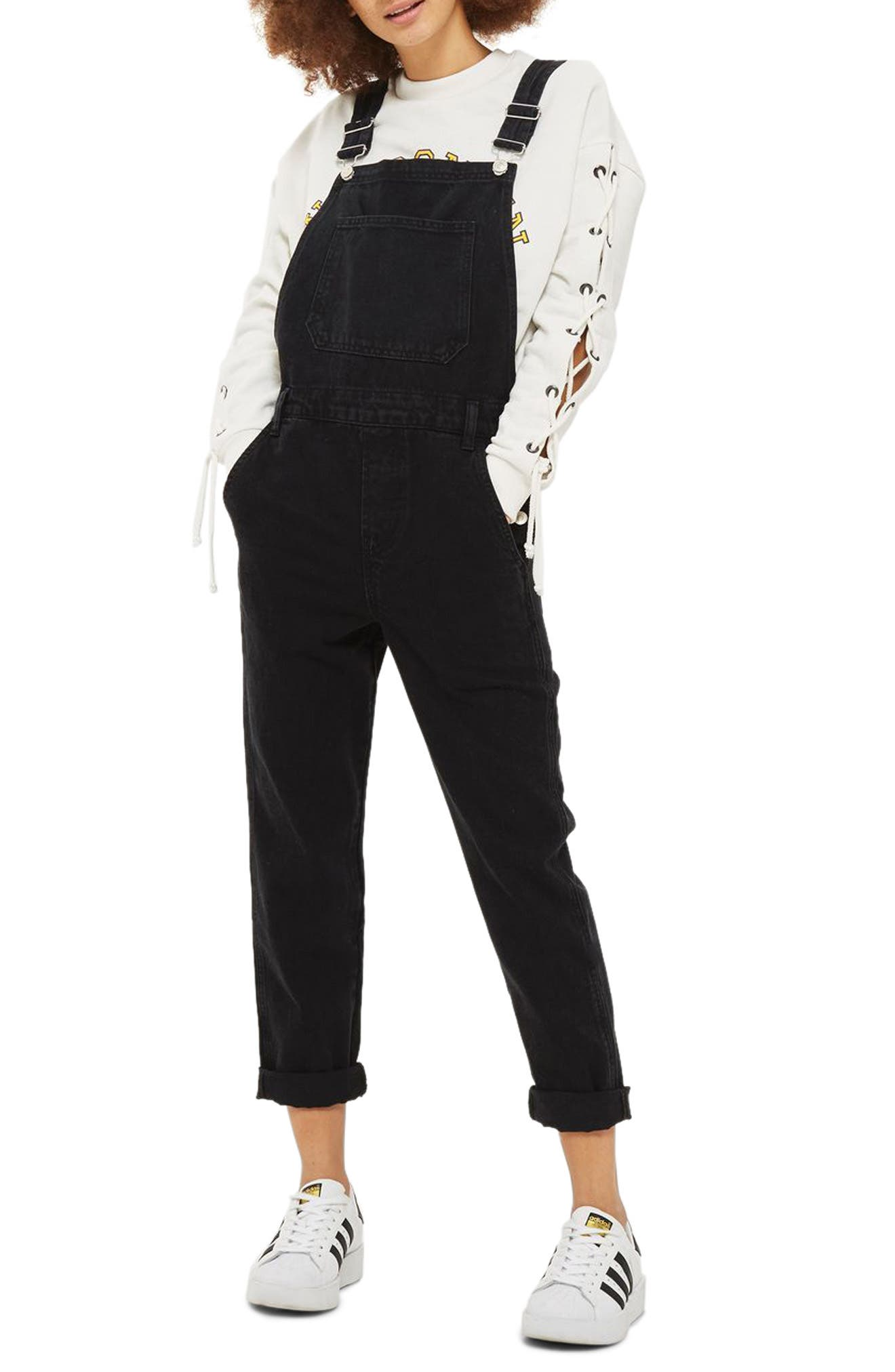 Slim Leg Overalls,                             Main thumbnail 1, color,                             Washed Black
