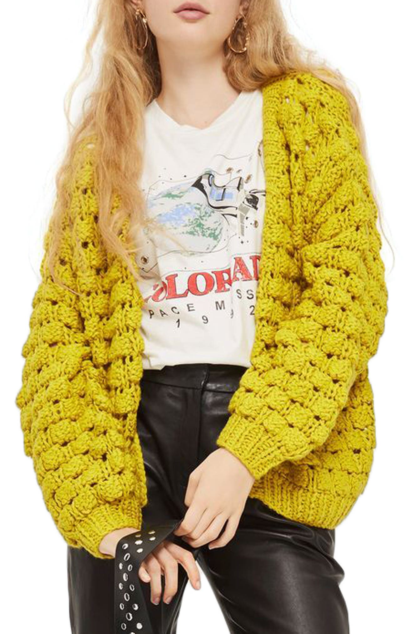 Bobble Stitch Cardigan,                         Main,                         color, Chartreuse