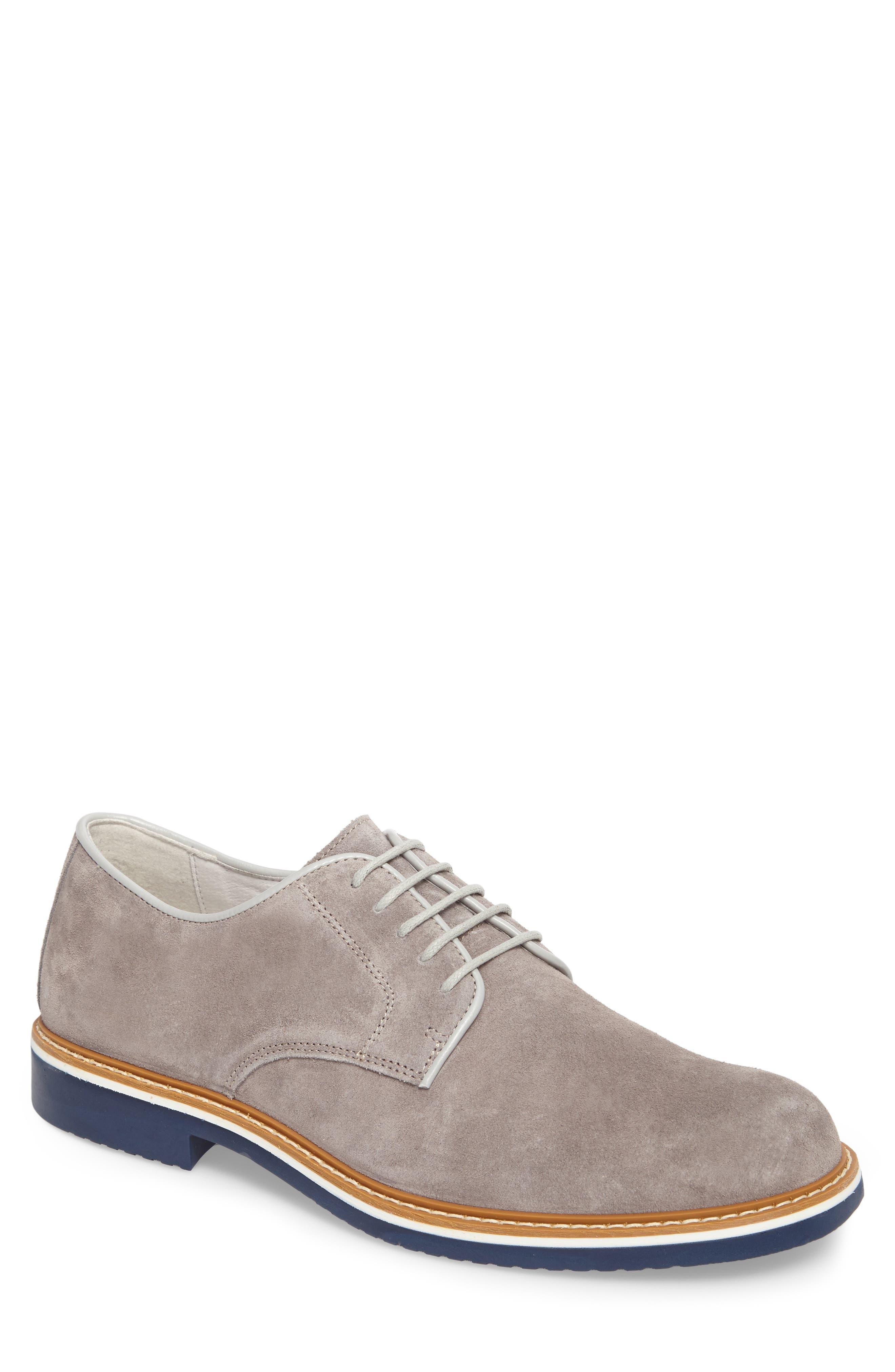 Cardiff Plain Toe Derby,                         Main,                         color, Grey Suede