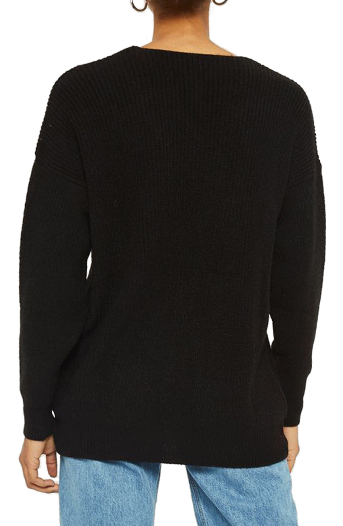Ladder Stitch Sweater,                             Alternate thumbnail 2, color,                             Black