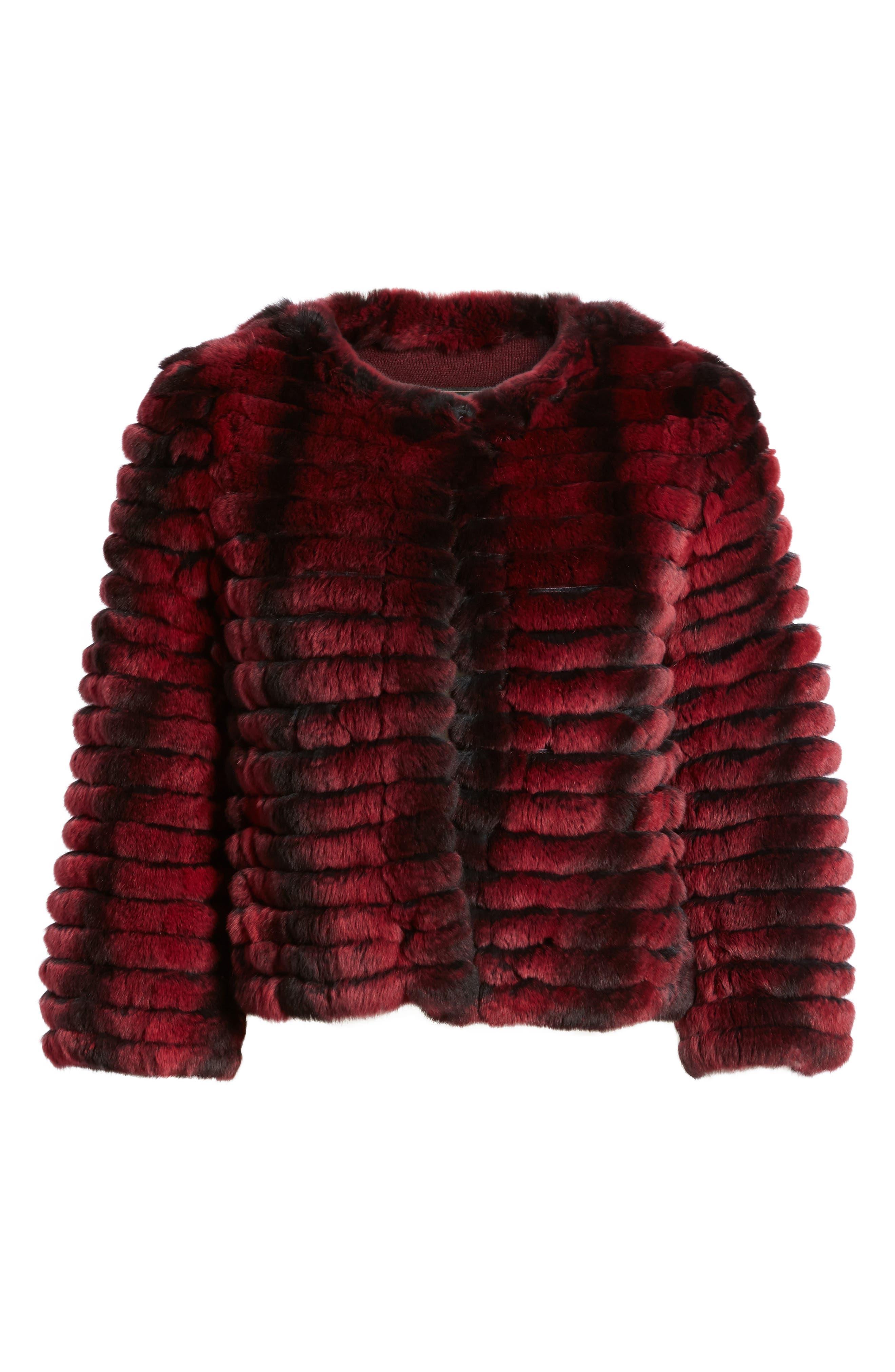 Genuine Rabbit Fur Crop Jacket,                             Alternate thumbnail 6, color,                             Wine Two Tone