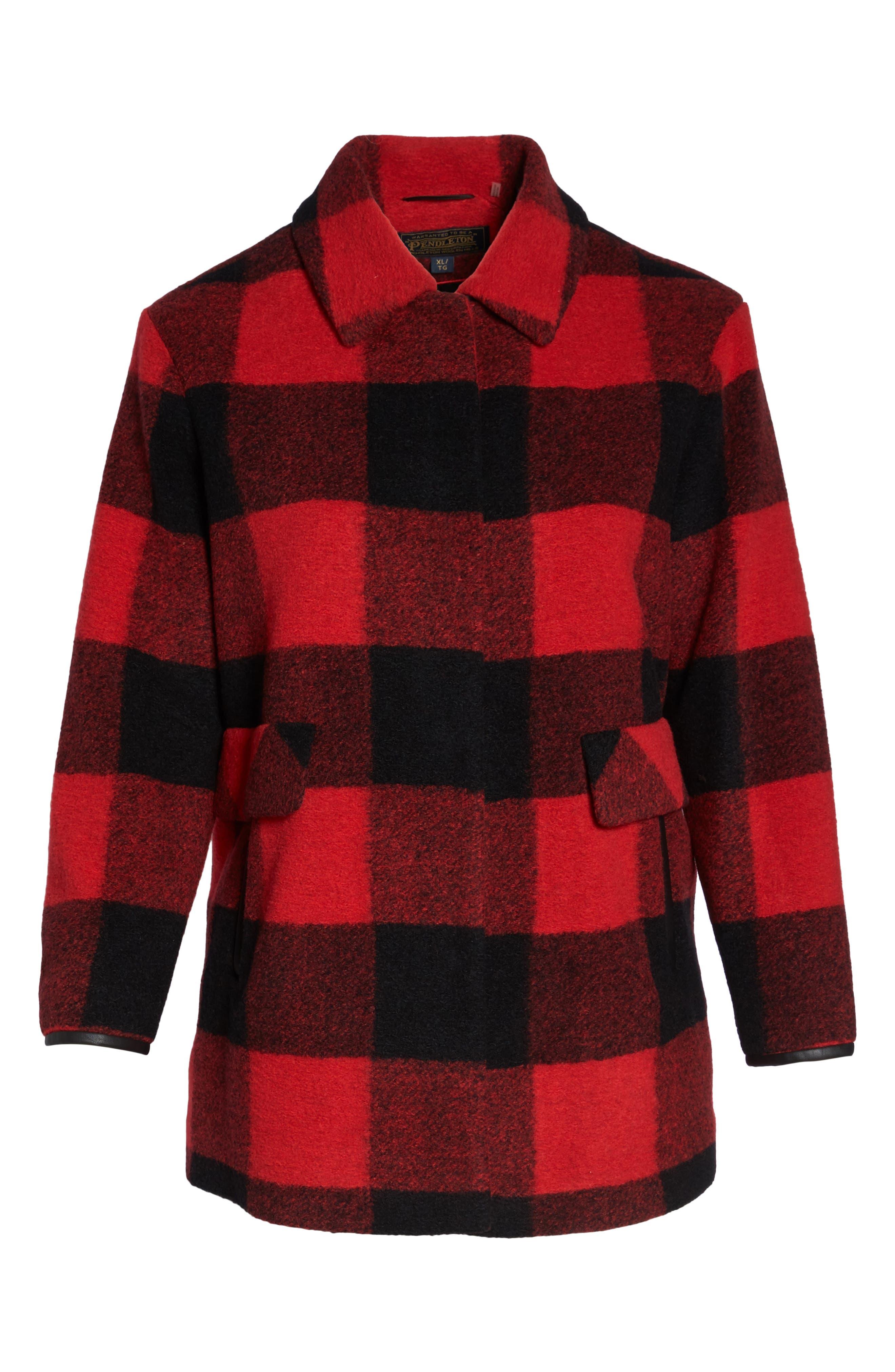 Alternate Image 6  - Pendleton Paul Bunyan Plaid Wool Blend Barn Coat (Plus Size)