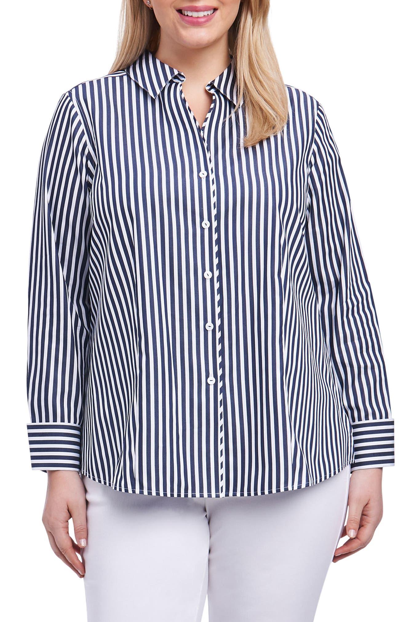 Lauren Sateen Stripe Shirt,                             Main thumbnail 1, color,                             Navy