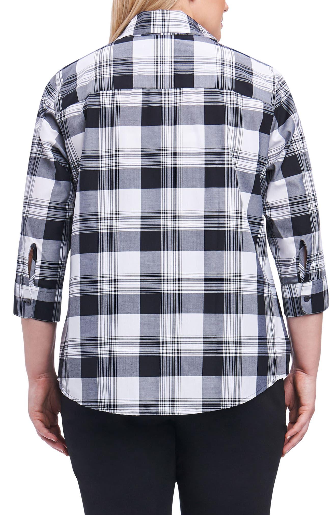 Alternate Image 2  - Foxcroft Sue Shaped Fit Plaid Shirt (Plus Size)