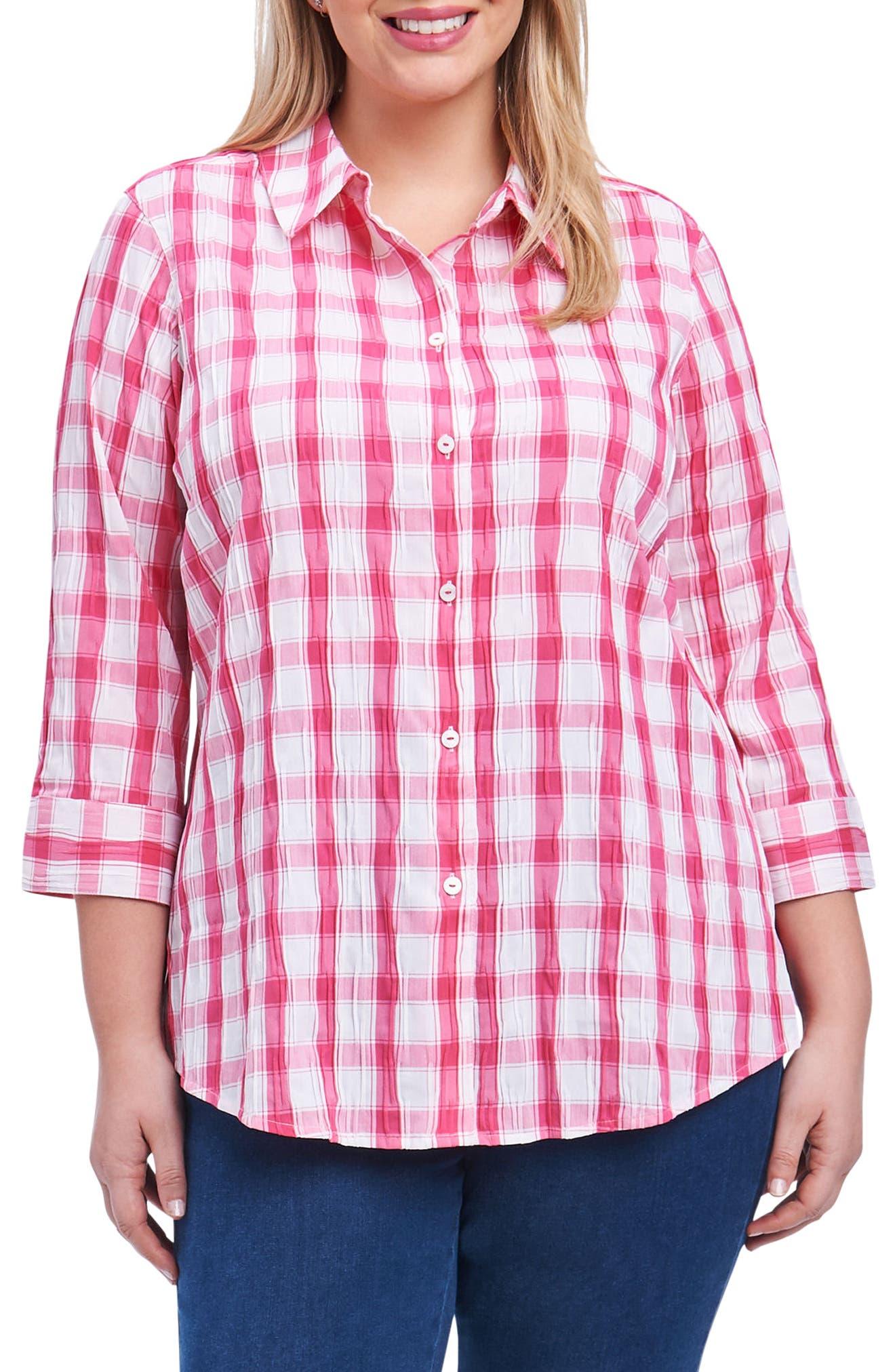 Sue Shaped Fit Crinkle Plaid Shirt,                             Main thumbnail 1, color,                             Hot Pink