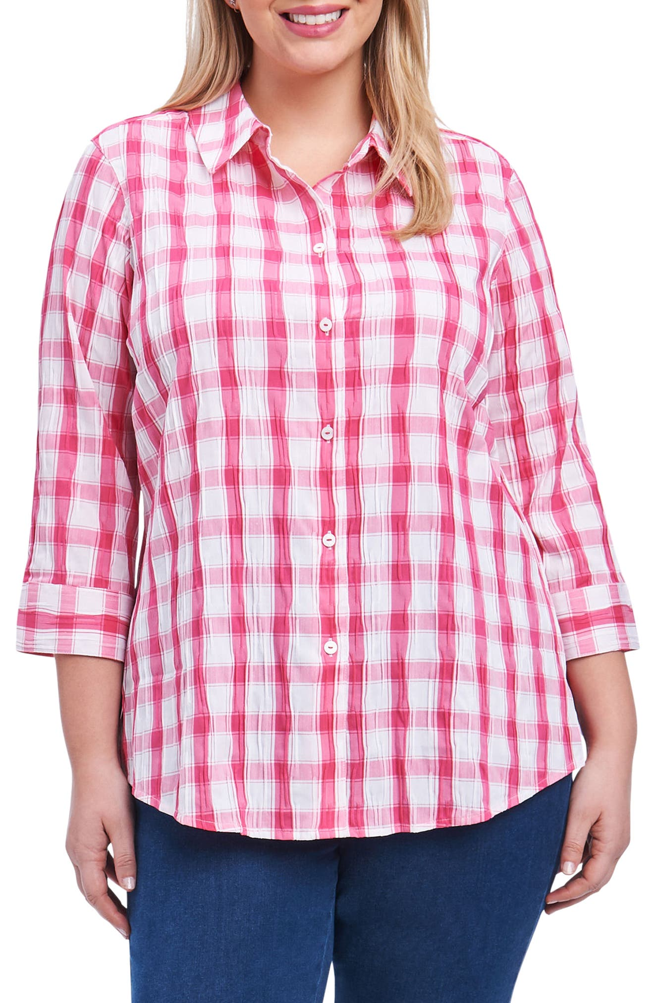 Sue Shaped Fit Crinkle Plaid Shirt,                         Main,                         color, Hot Pink