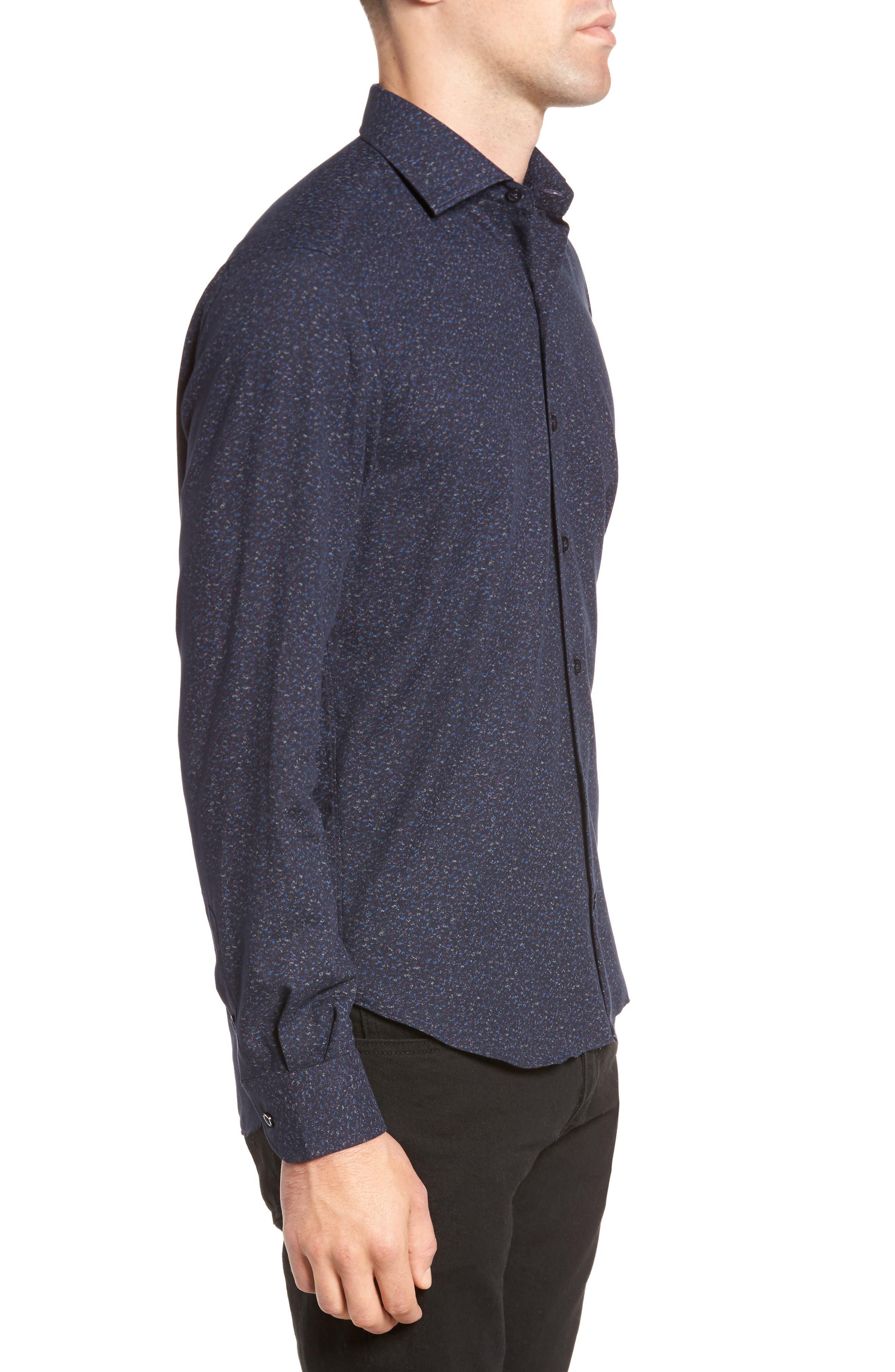 Speckled Sport Shirt,                             Alternate thumbnail 3, color,                             Navy