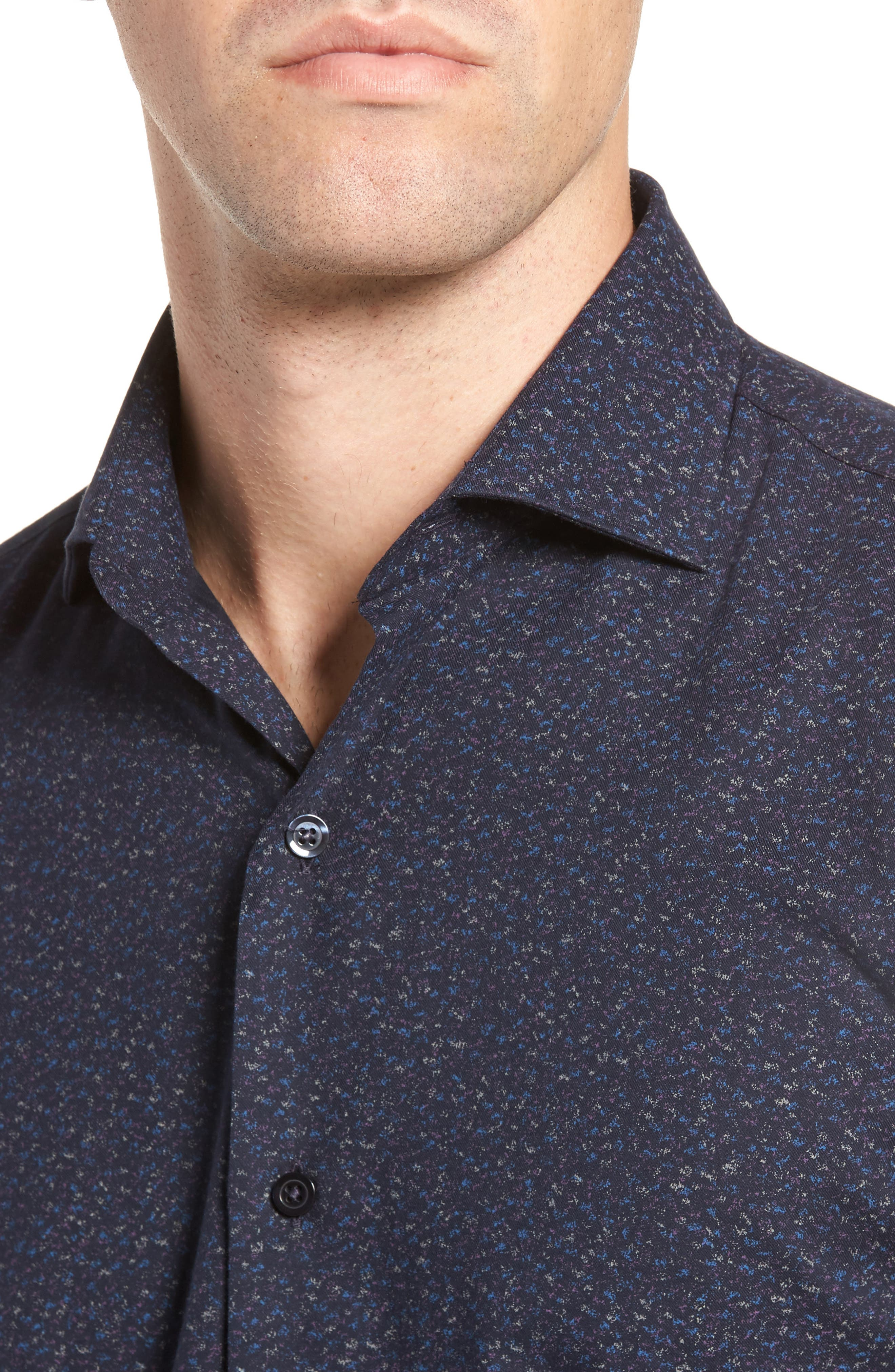 Speckled Sport Shirt,                             Alternate thumbnail 4, color,                             Navy