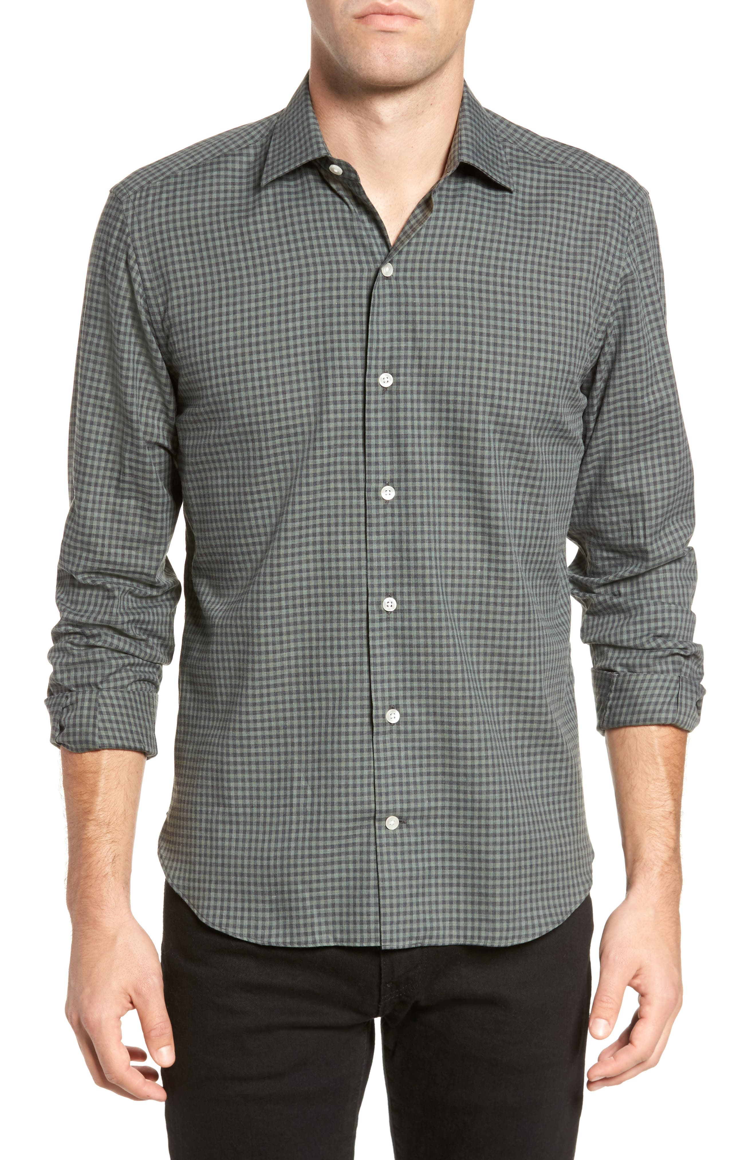 Gingham Sport Shirt,                         Main,                         color, Green