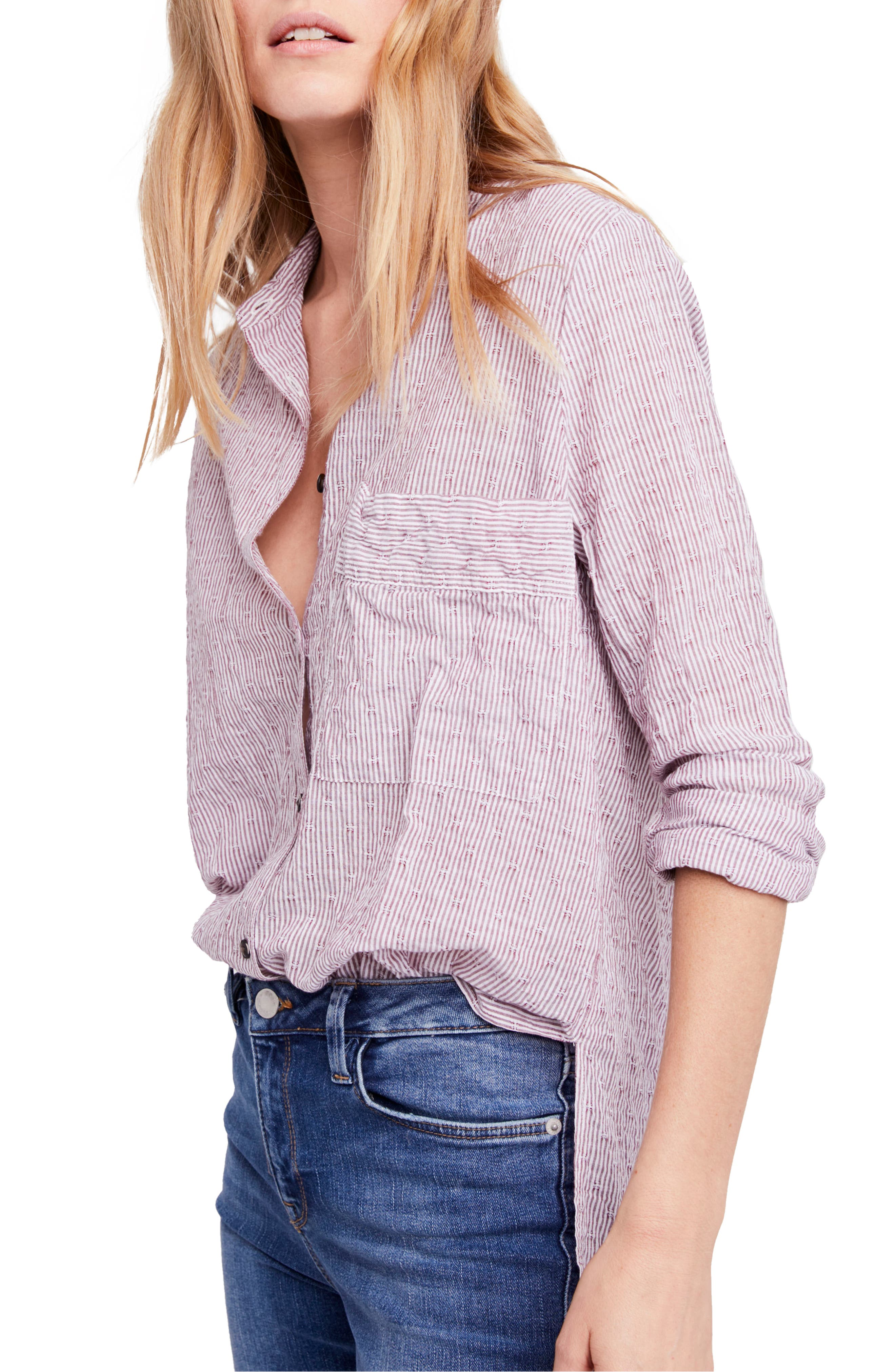 Alternate Image 1 Selected - Free People No Limits Stripe Stretch Cotton Shirt