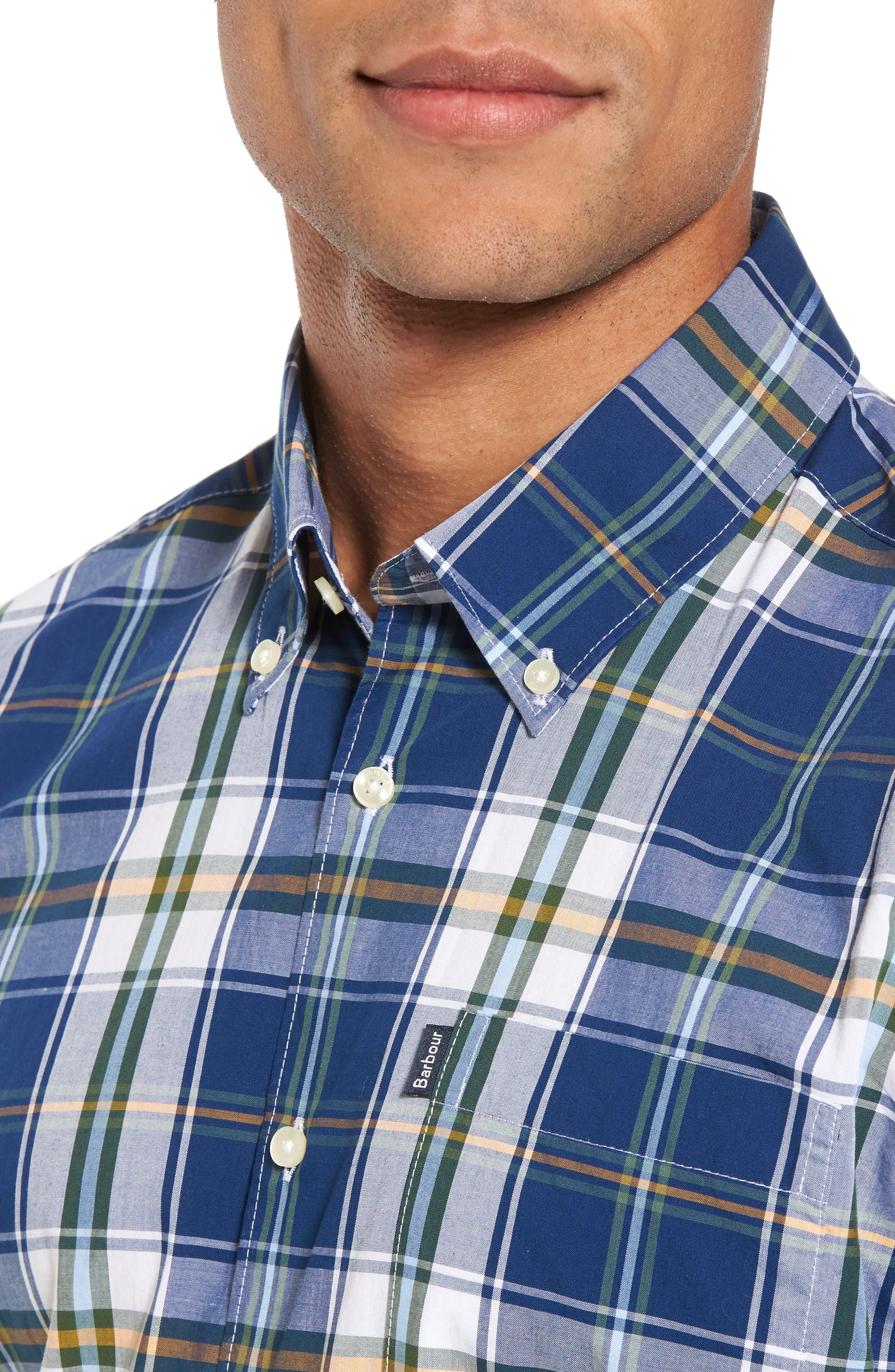 Jeff Trim Fit Plaid Sport Shirt,                             Alternate thumbnail 4, color,                             Deep Blue