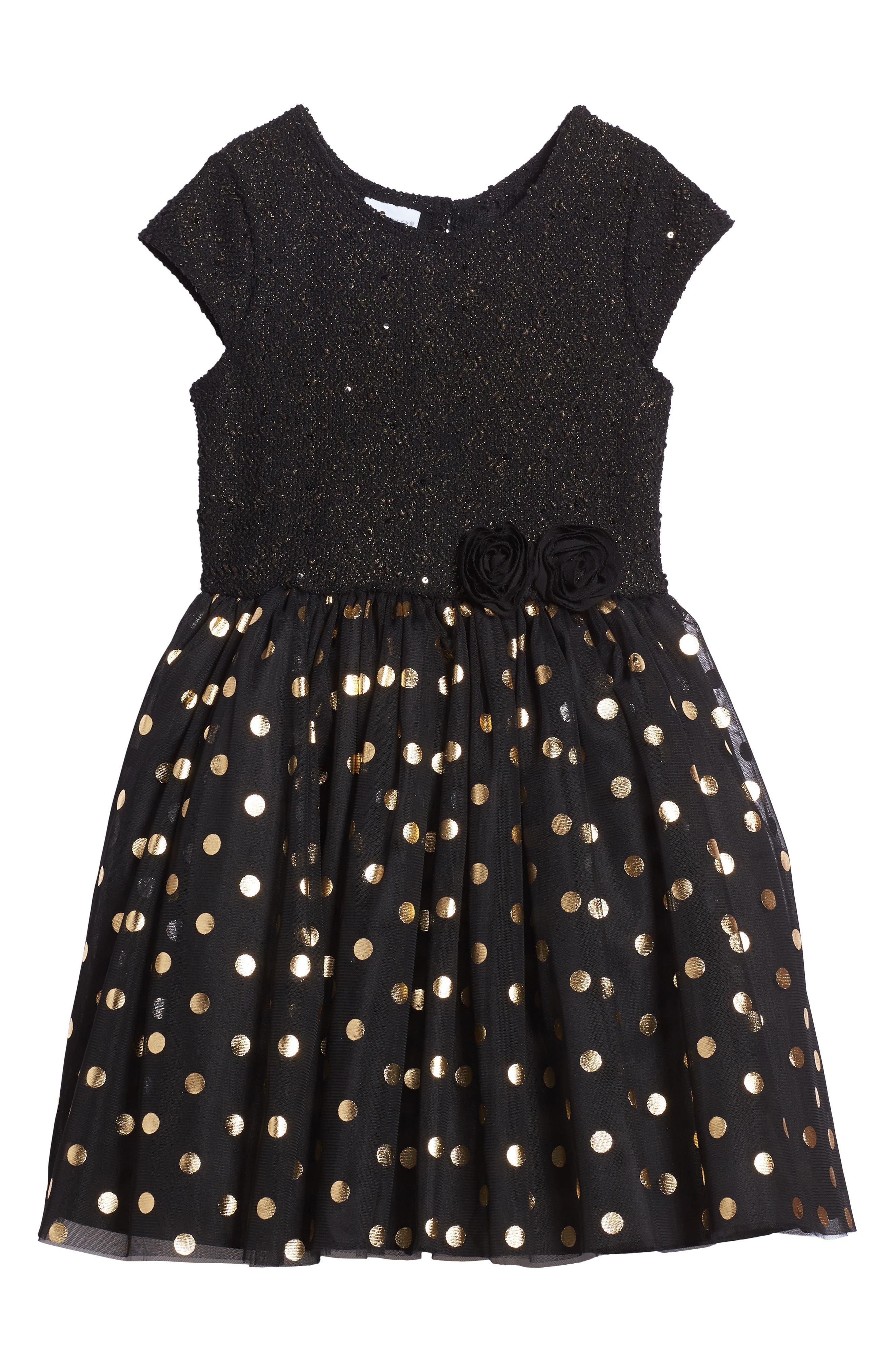 Metallic Dot Dress,                         Main,                         color, Black/ Gold