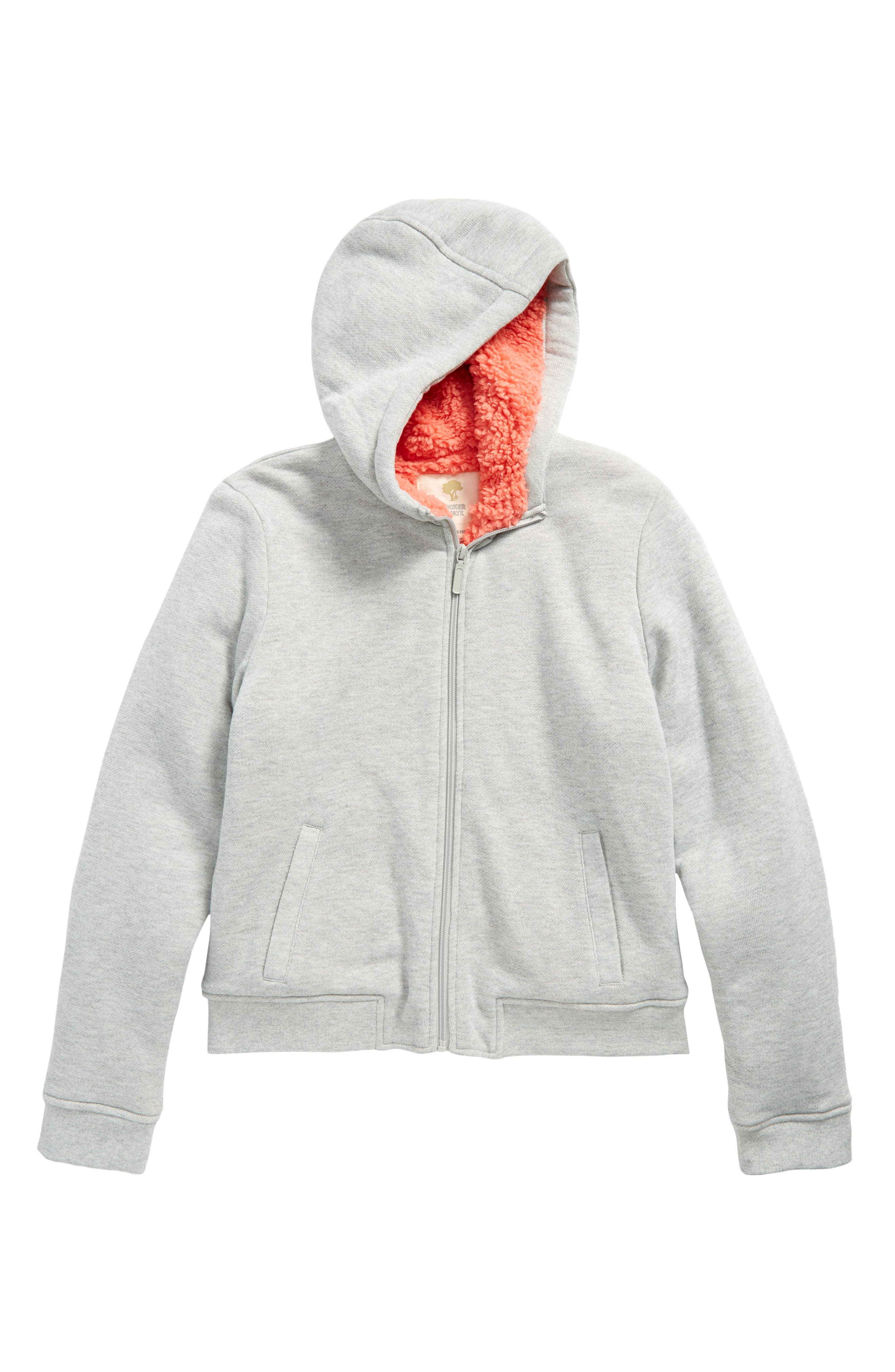 Fleece Lined Hoodie,                             Main thumbnail 1, color,                             Grey Heather