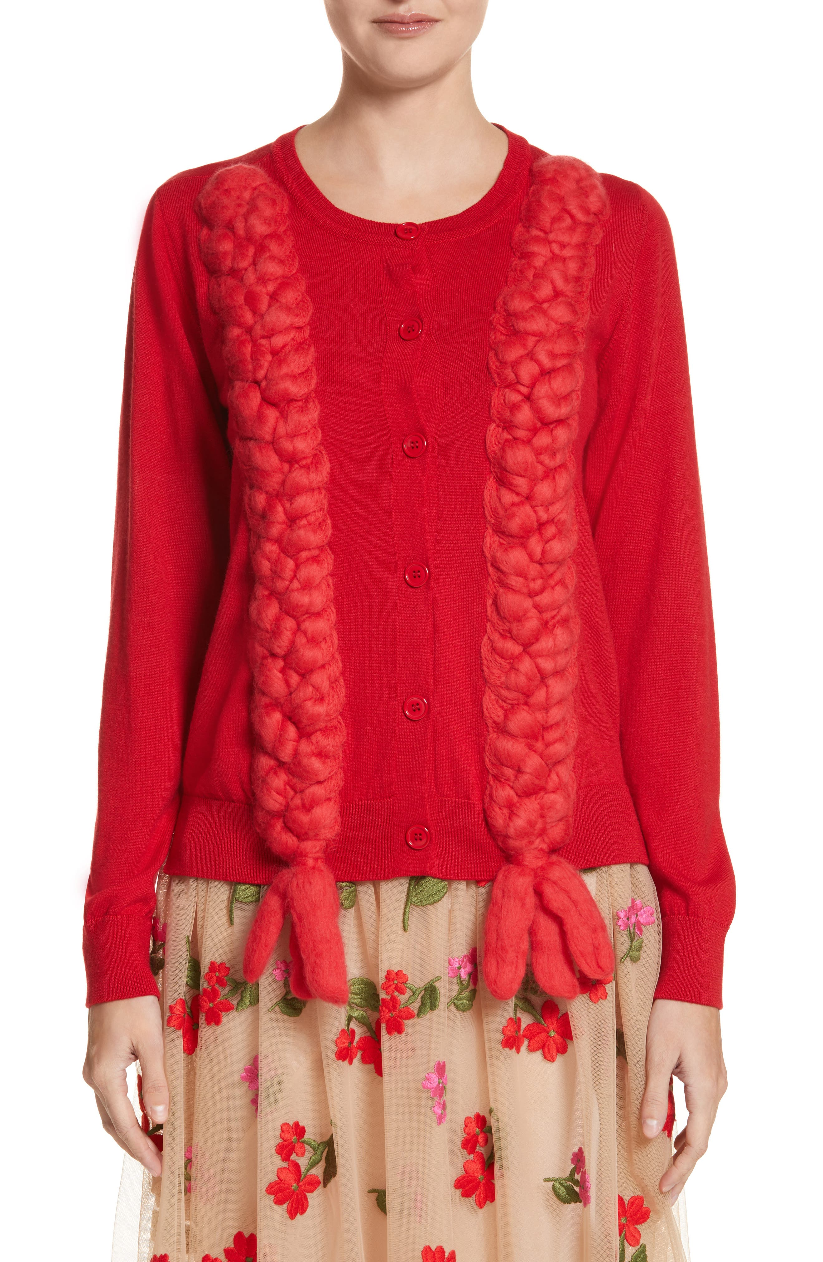 Main Image - Simone Rocha Felted Plait Merino, Silk & Cashmere Button Cardigan