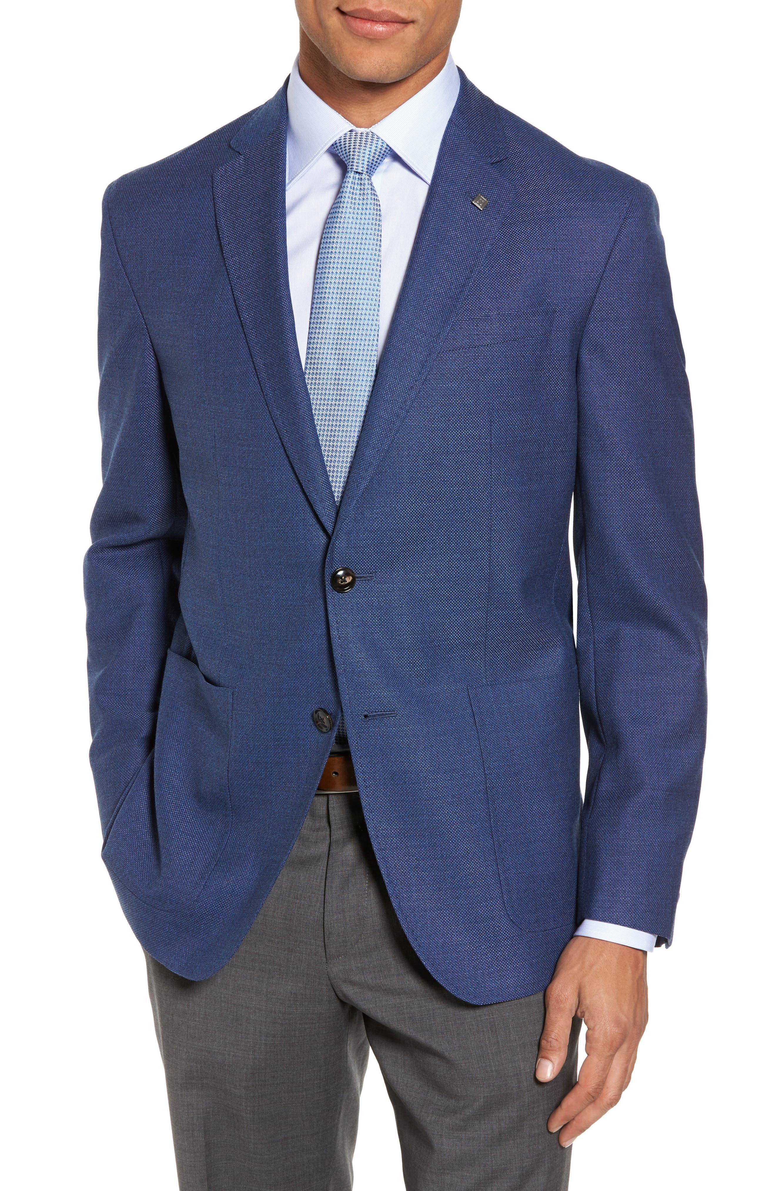 Kyle Trim Fit Wool Blazer,                         Main,                         color, Mid Blue