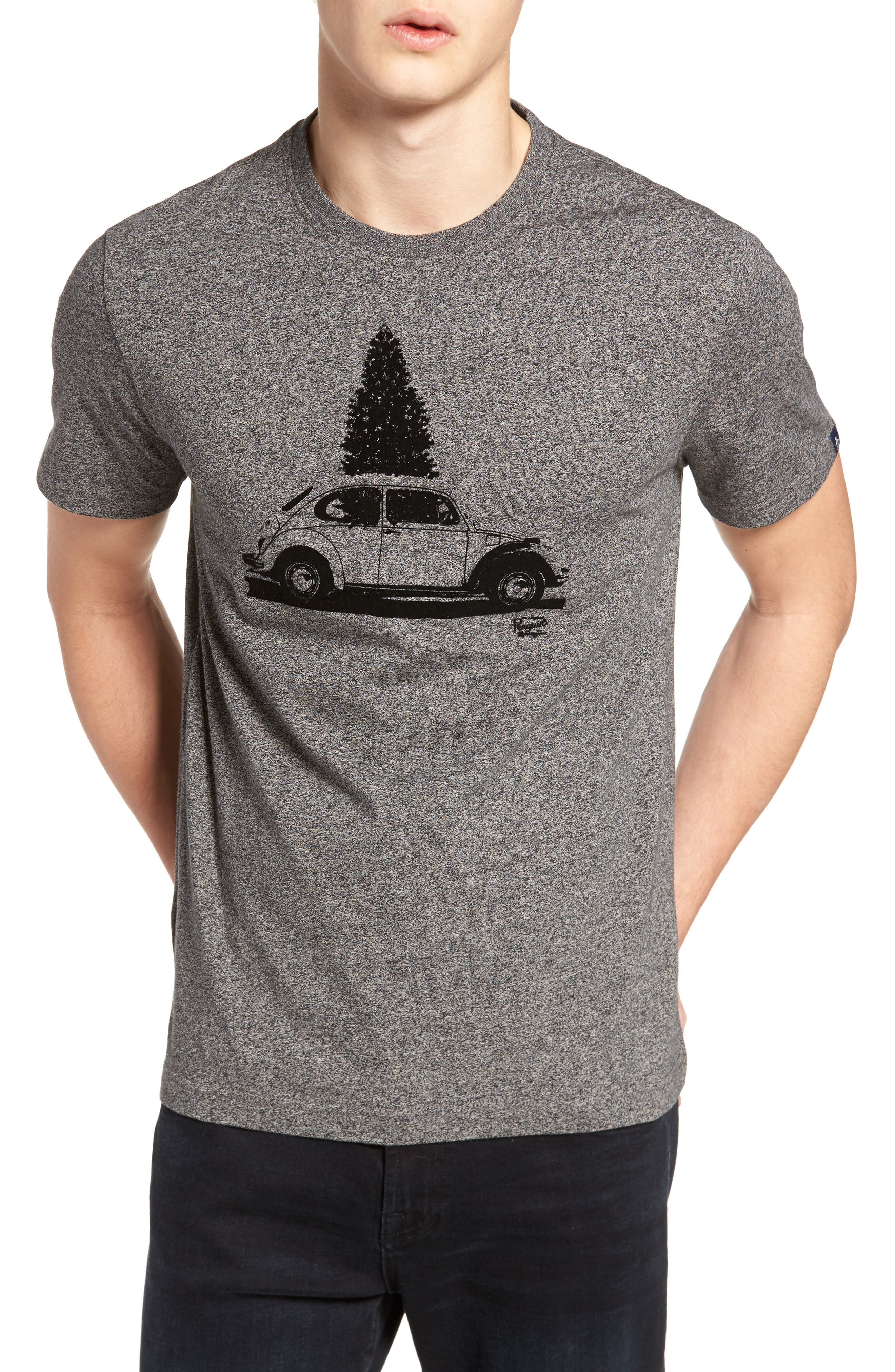 Flocked Christmas Car T-Shirt,                         Main,                         color, Dark Shadow